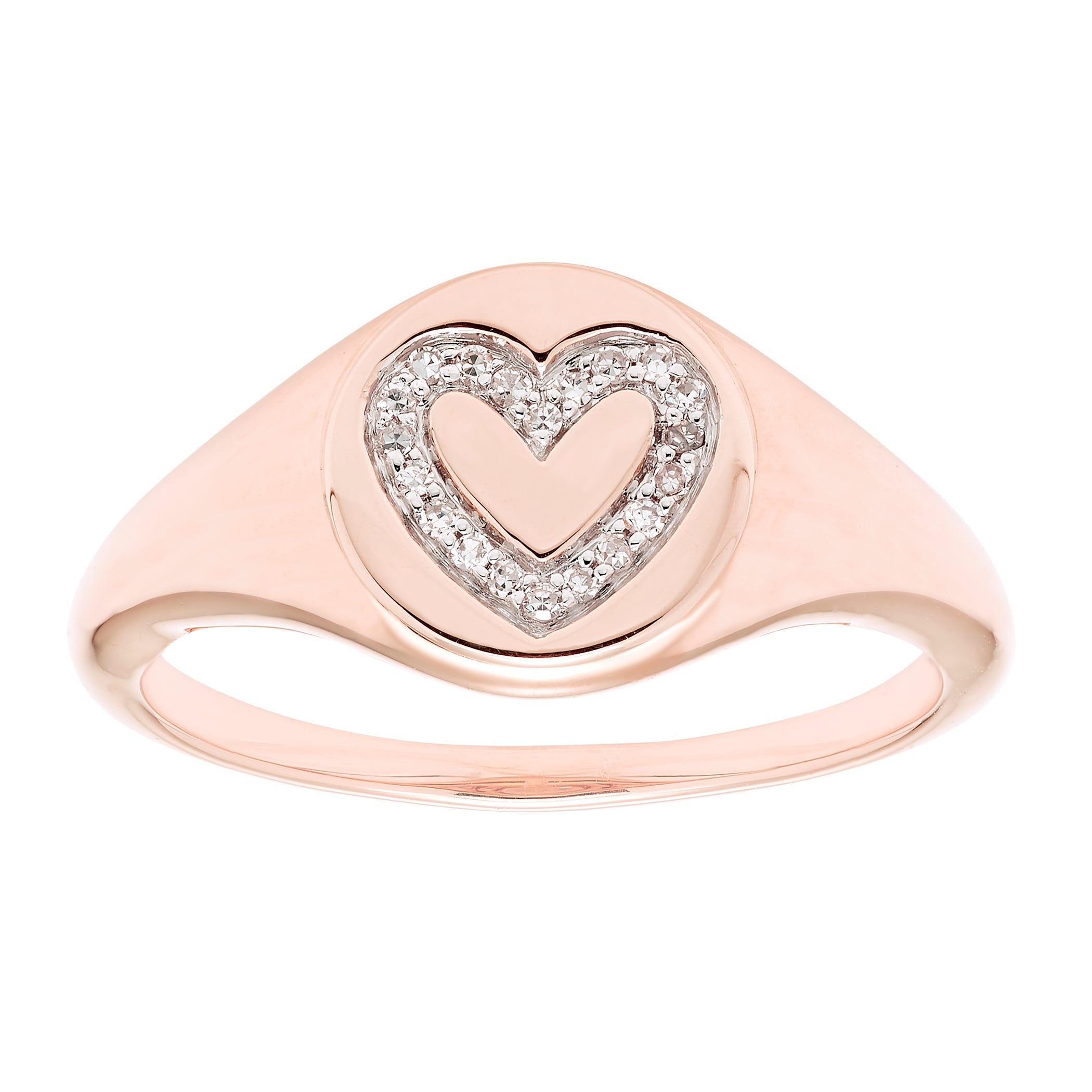 Diamond Heart Signet Ring in 14k Rose Gold