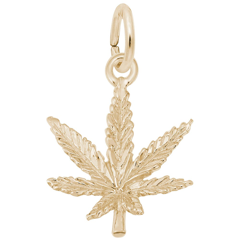 Leaf Charms Gold Cooper Weed Leaf 18k Gold GC1370