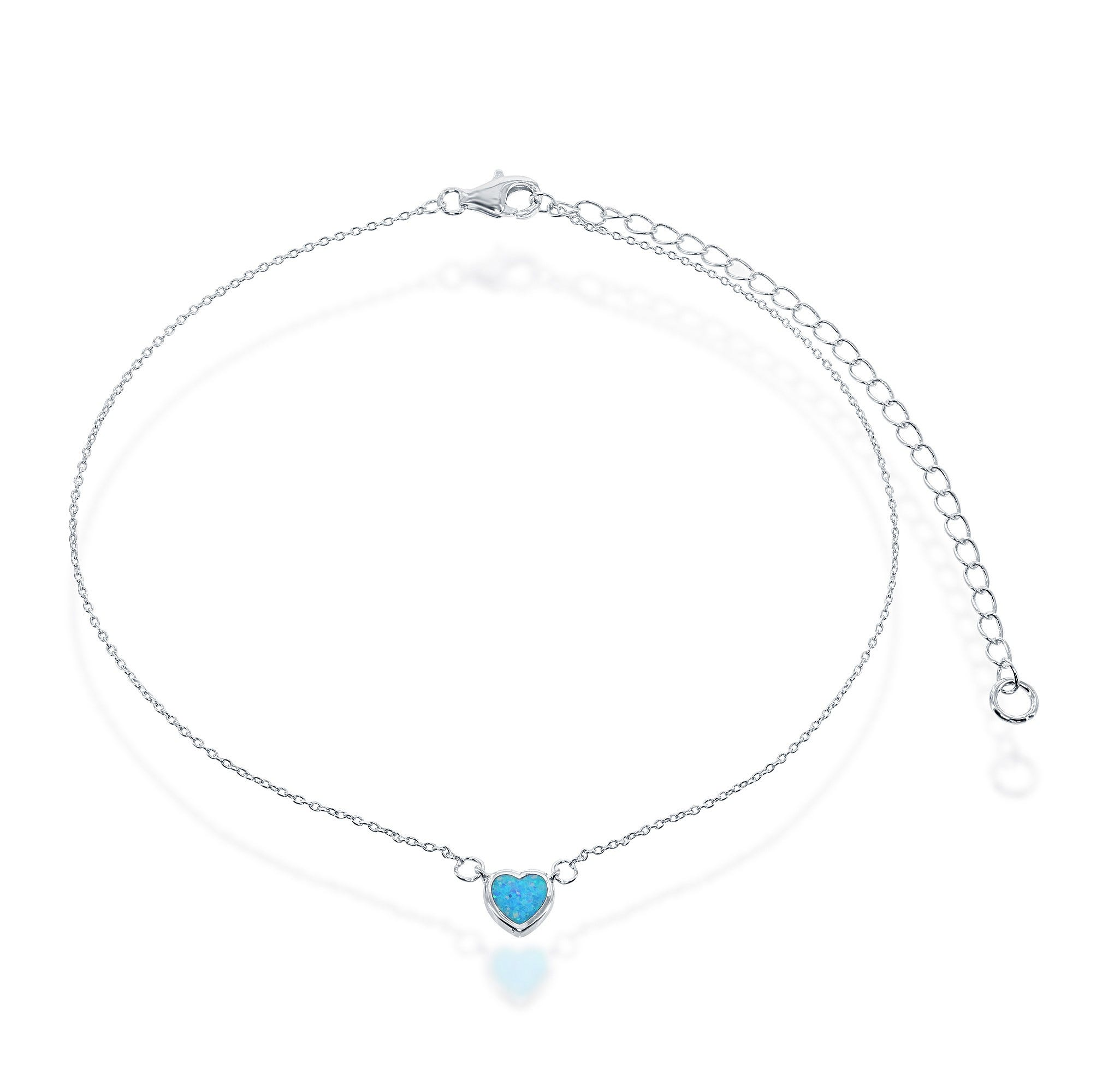 Created Blue Inlay Opal Heart Choker in Sterling Silver