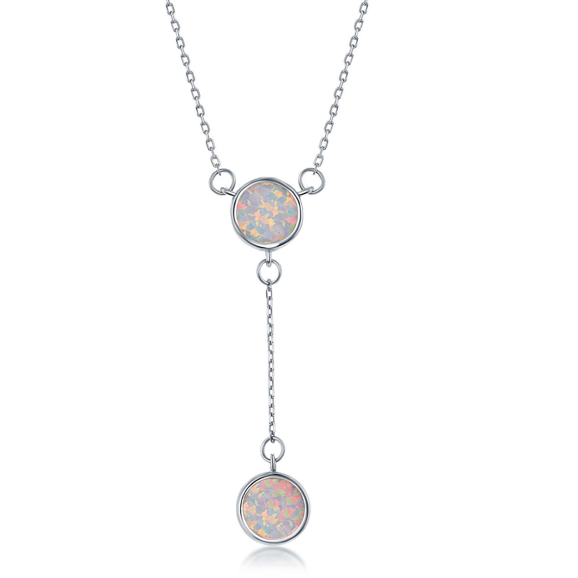Created White Inlay Opal Lariat in Sterling Silver