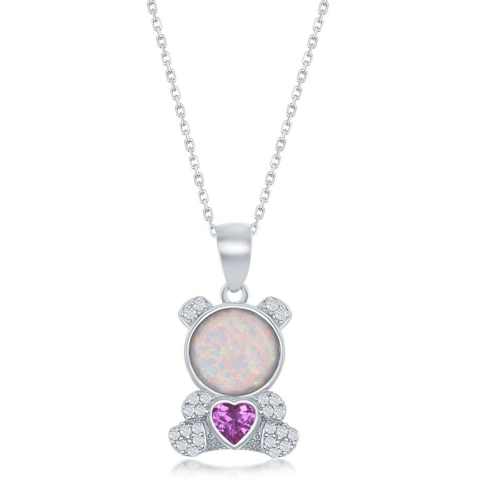 Purple CZ & Created Opal Bear Pendant in Sterling Silver