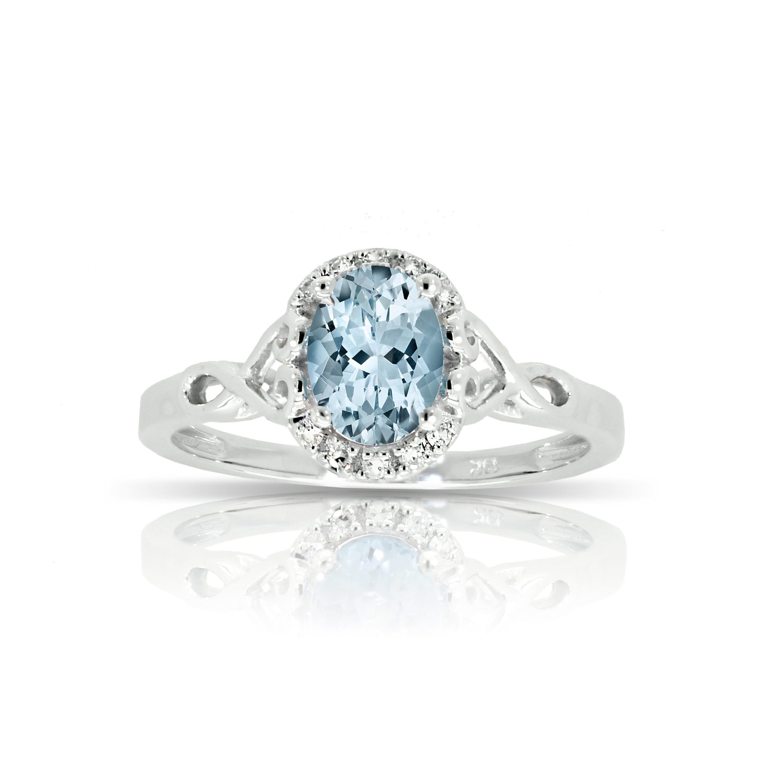 Aquamarine & Diamond Halo Oval Ring in 10k White Gold