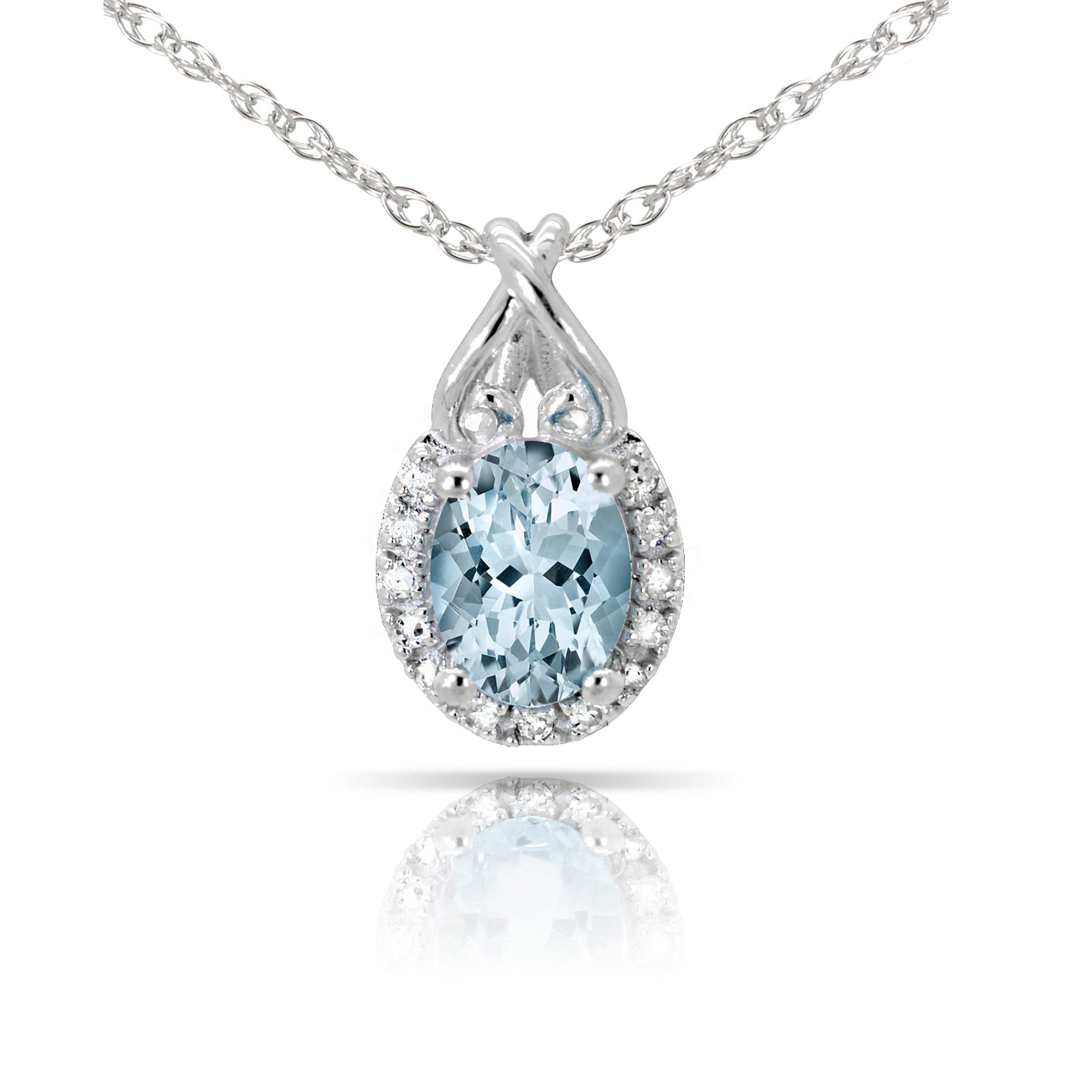 Aquamarine & Diamond Oval Heart Pendant in 10k White Gold