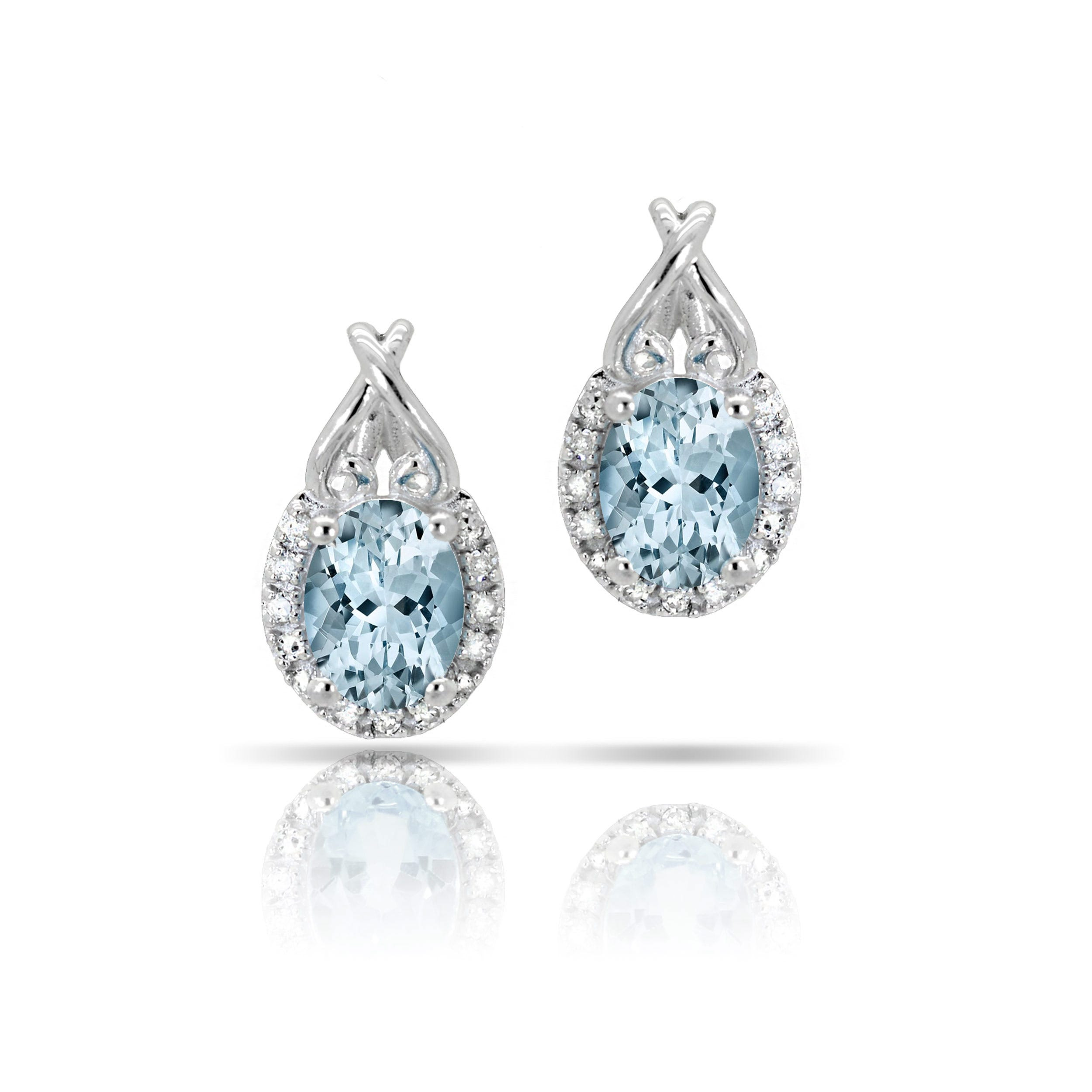 Aquamarine & Diamond Oval Heart Earrings in 10k White Gold