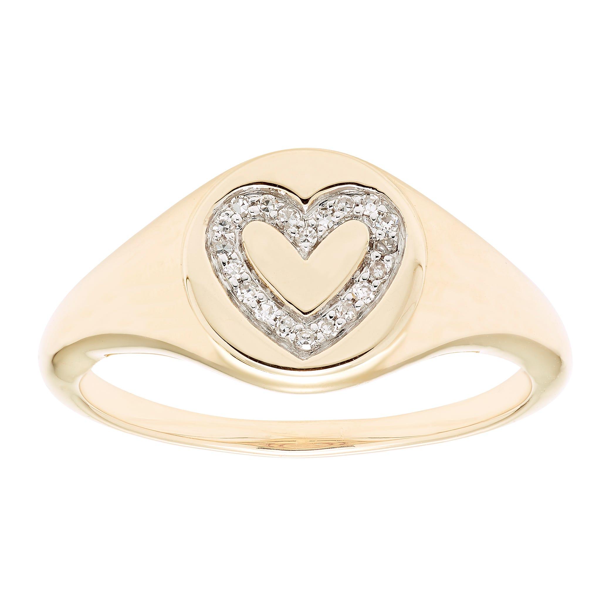 Diamond Heart Signet Ring in 14k Yellow Gold