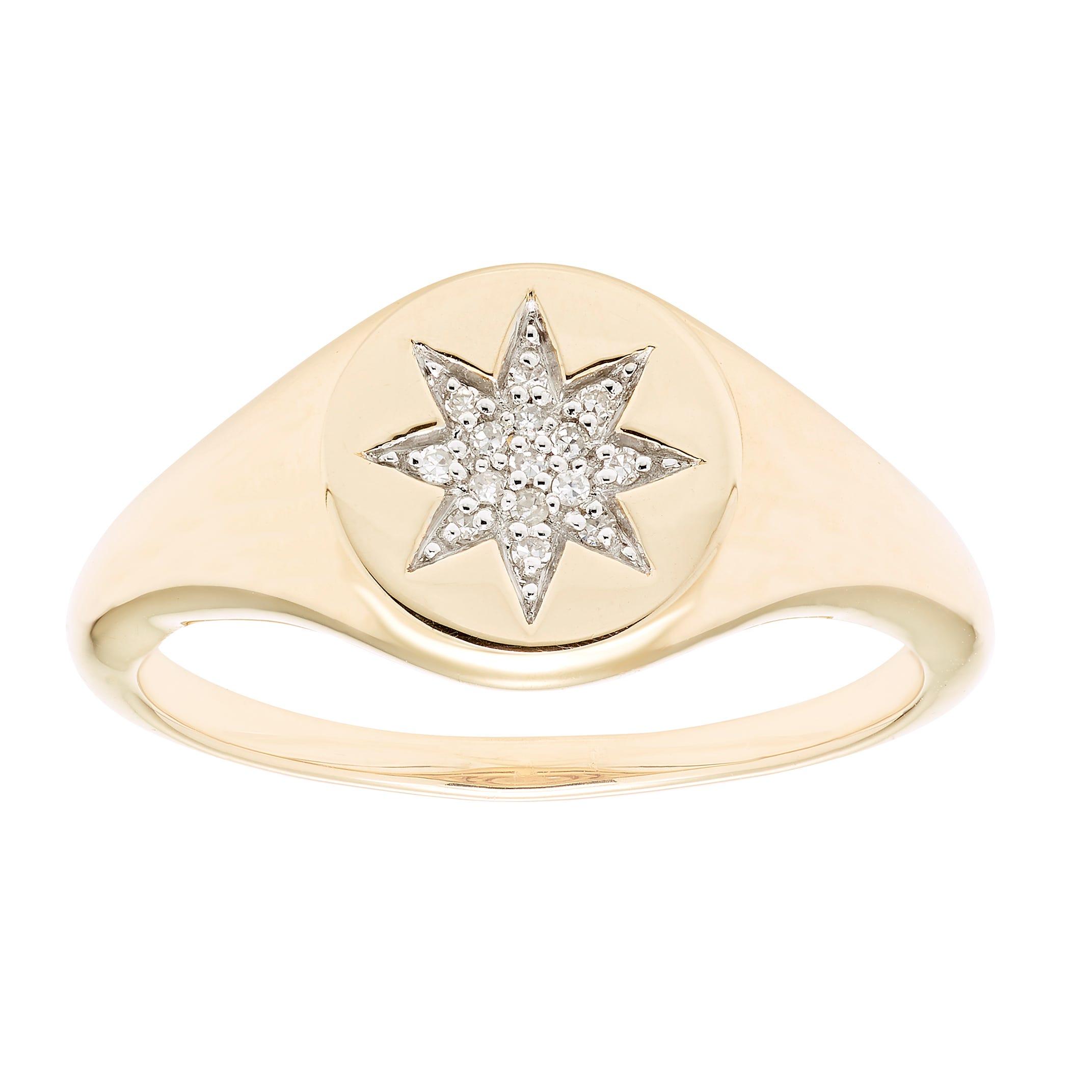 Diamond Starburst Signet Ring in 14k Yellow Gold
