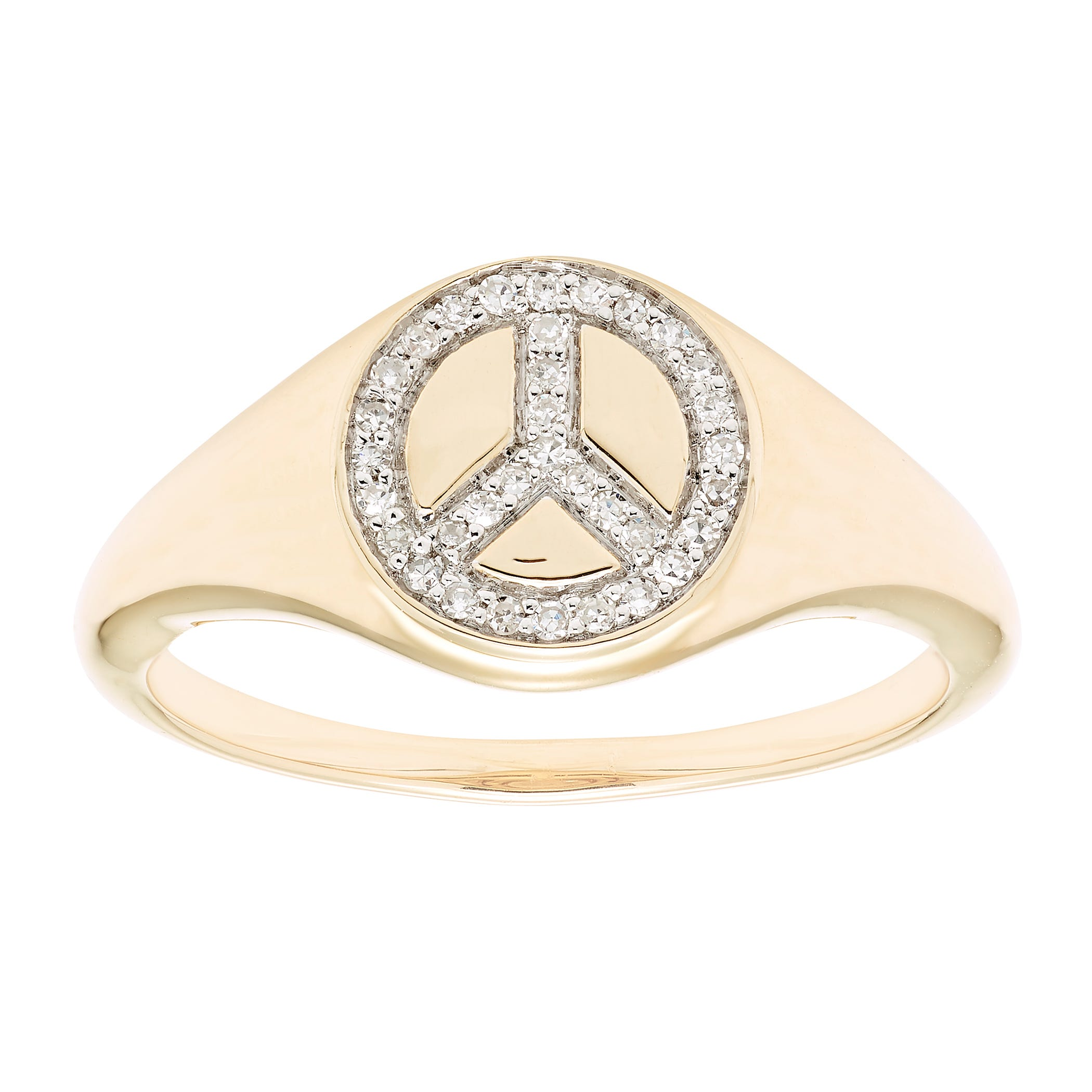 Diamond Peace Sign Ring in 14k Yellow Gold