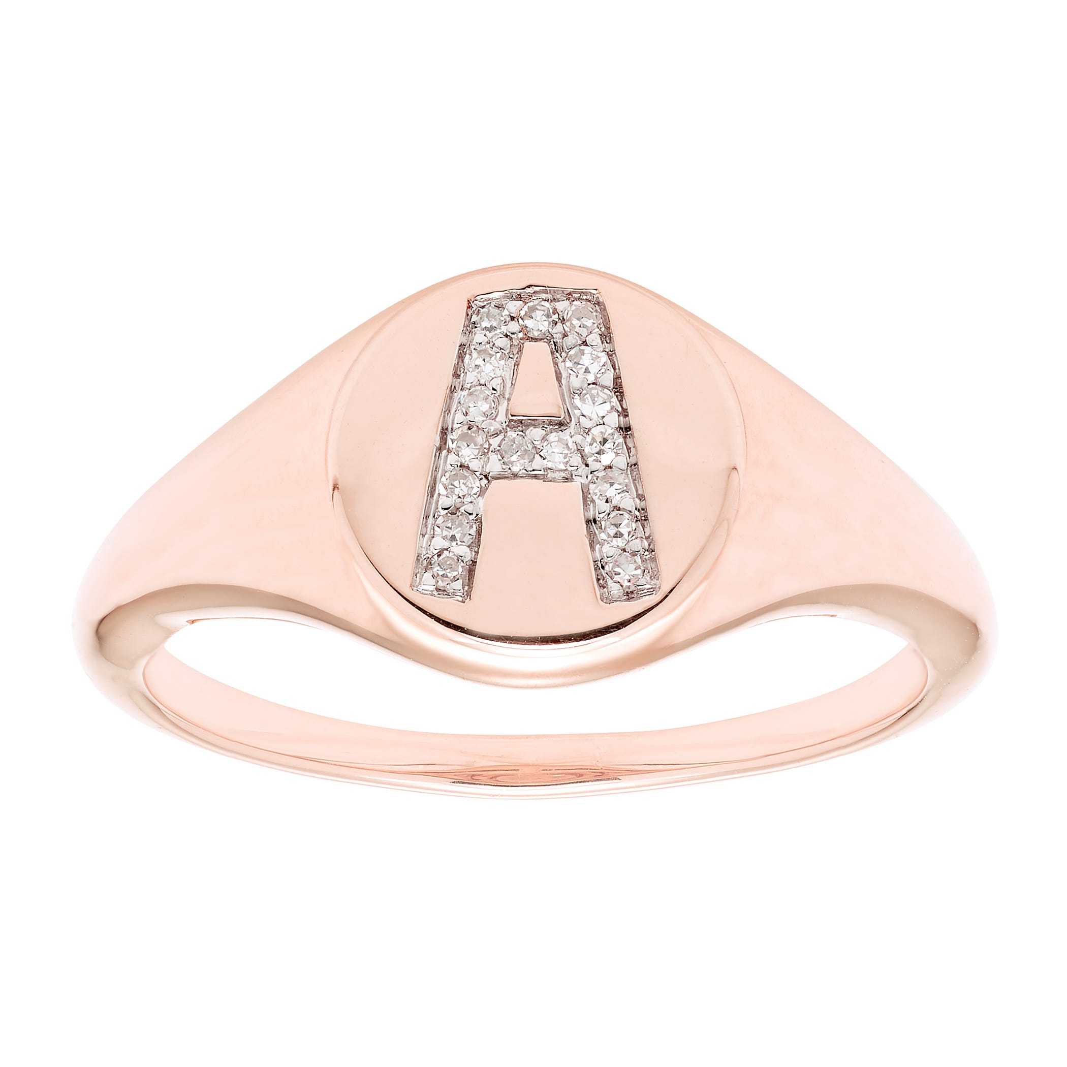 Diamond Initial A Signet Ring in 14k Rose Gold