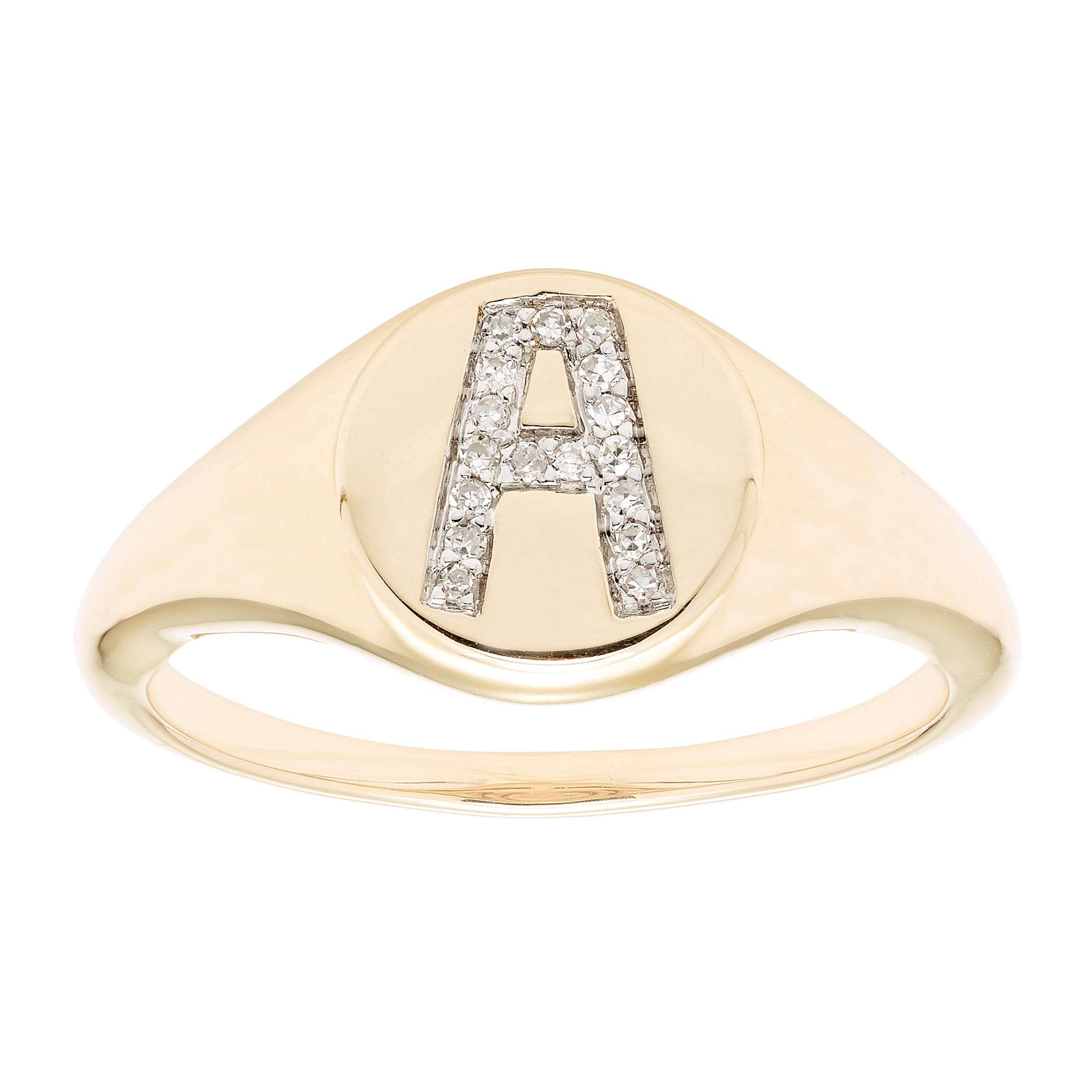 Diamond Initial A Signet Ring in 14k Yellow Gold