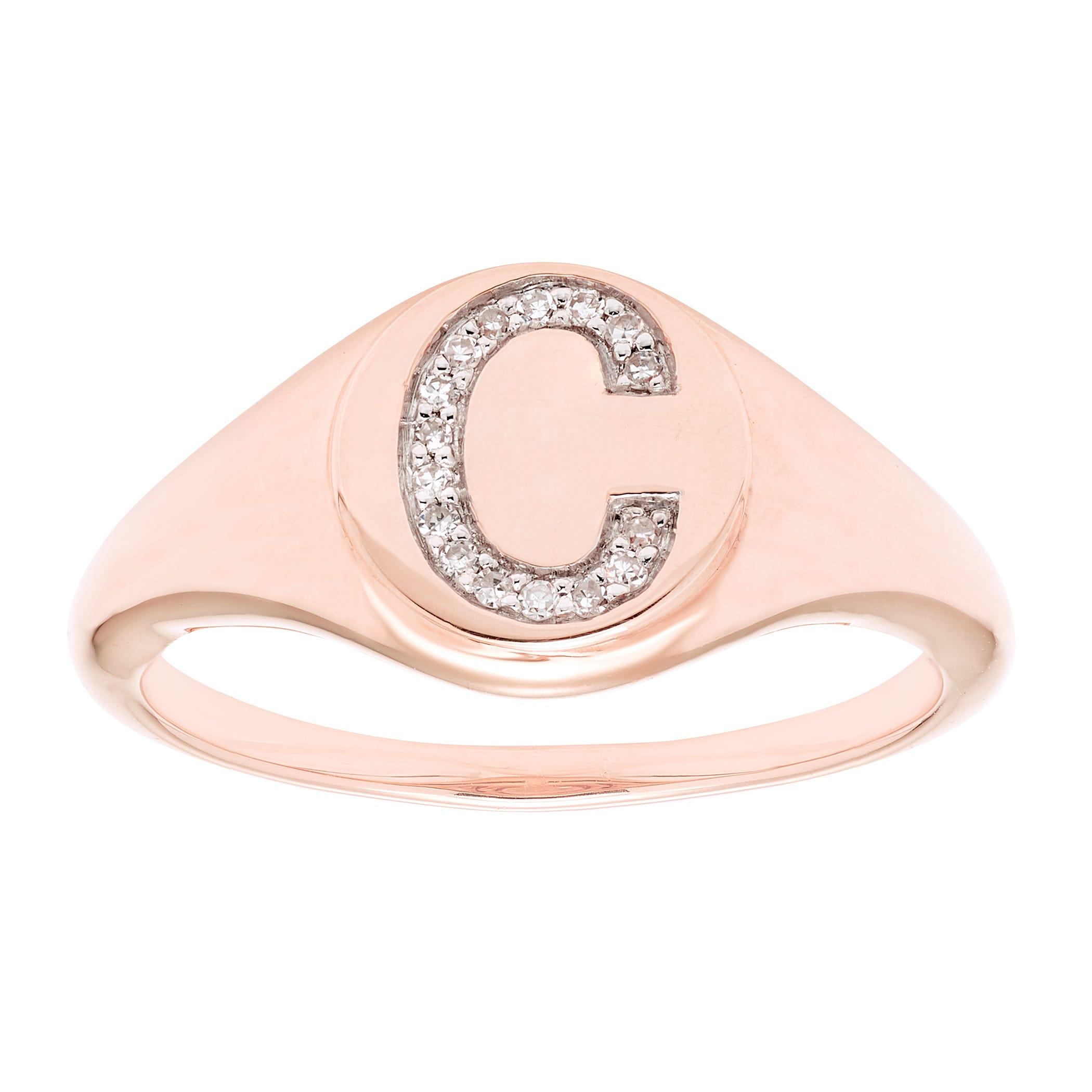 Diamond Initial C Signet Ring in 14k Rose Gold
