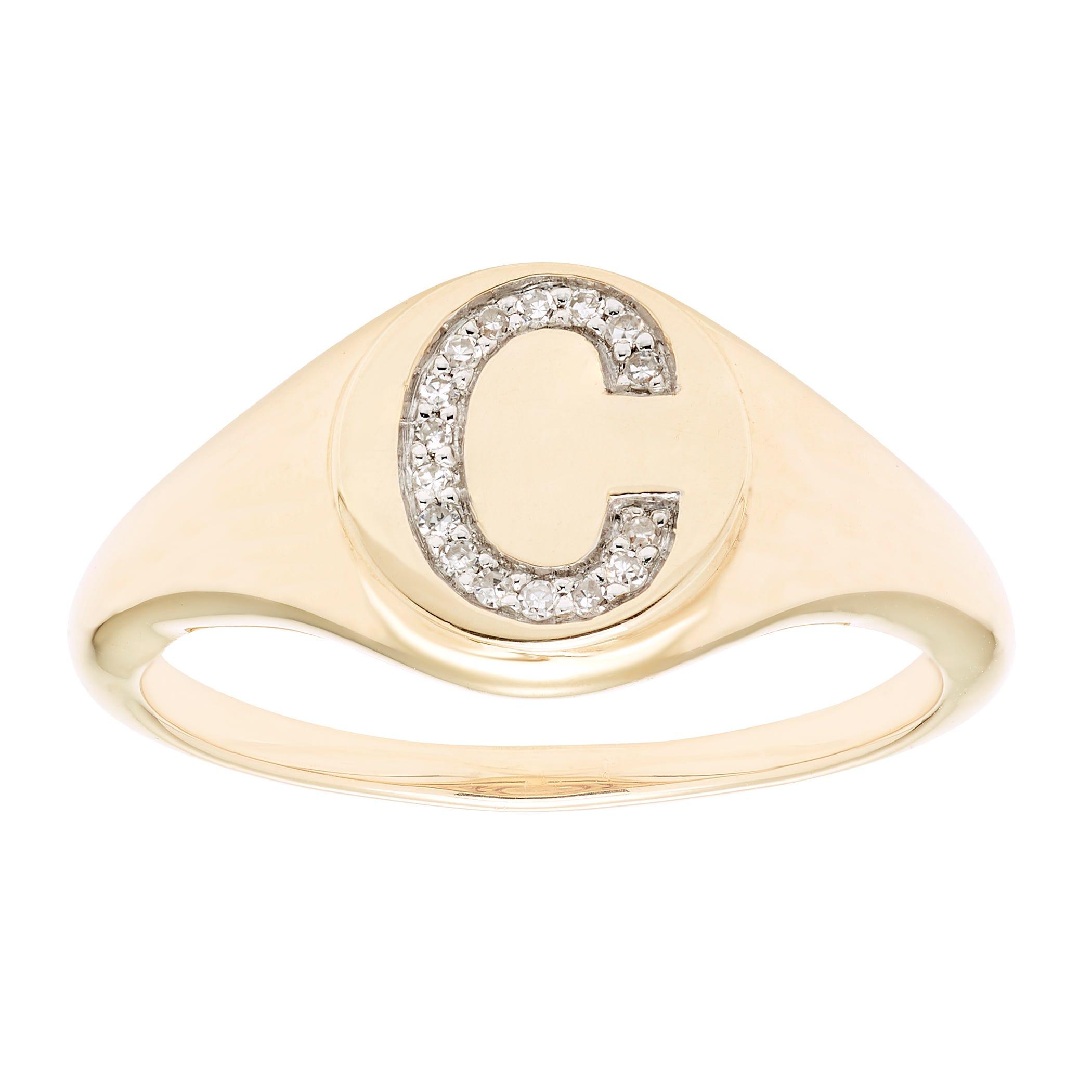 Diamond Initial C Signet Ring in 14k Yellow Gold