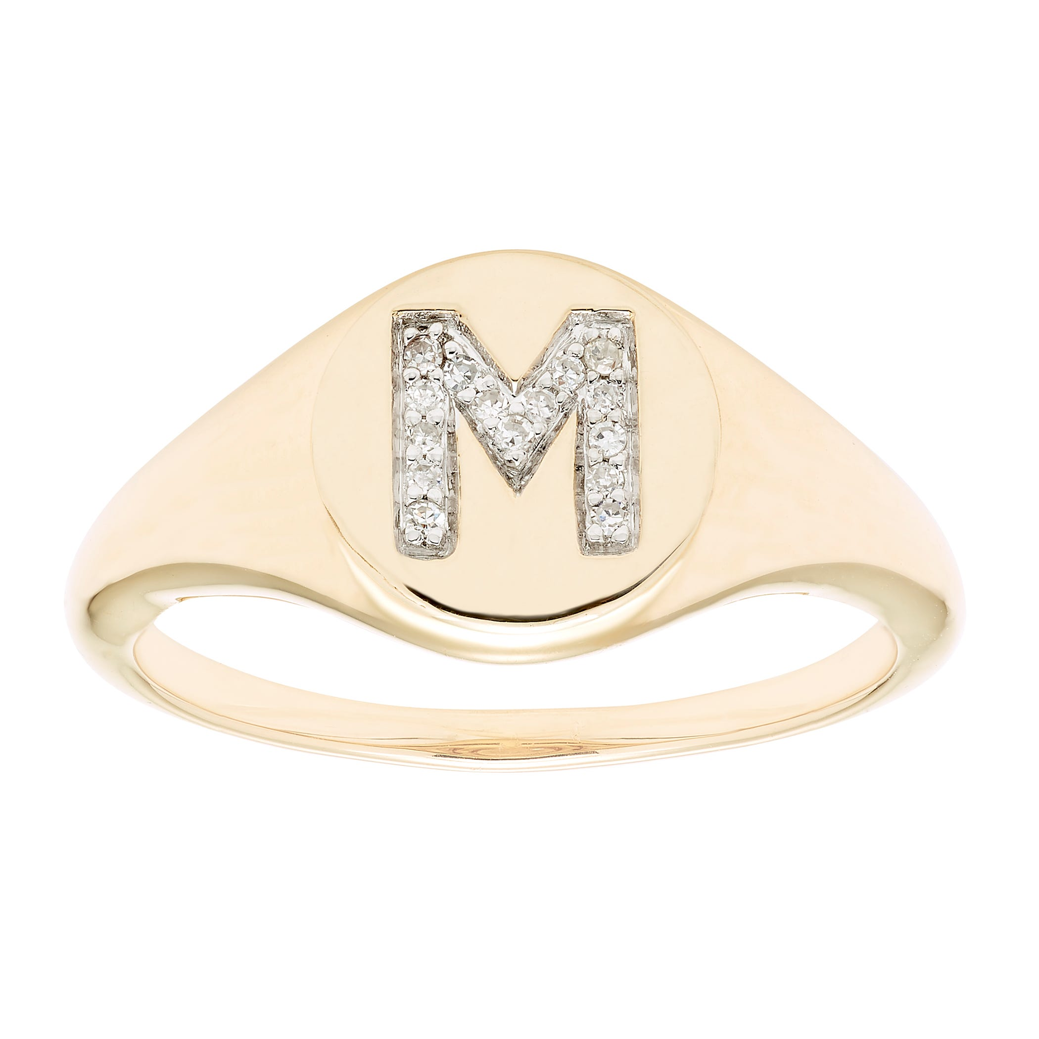 Diamond Initial M Signet Ring in 14k Yellow Gold
