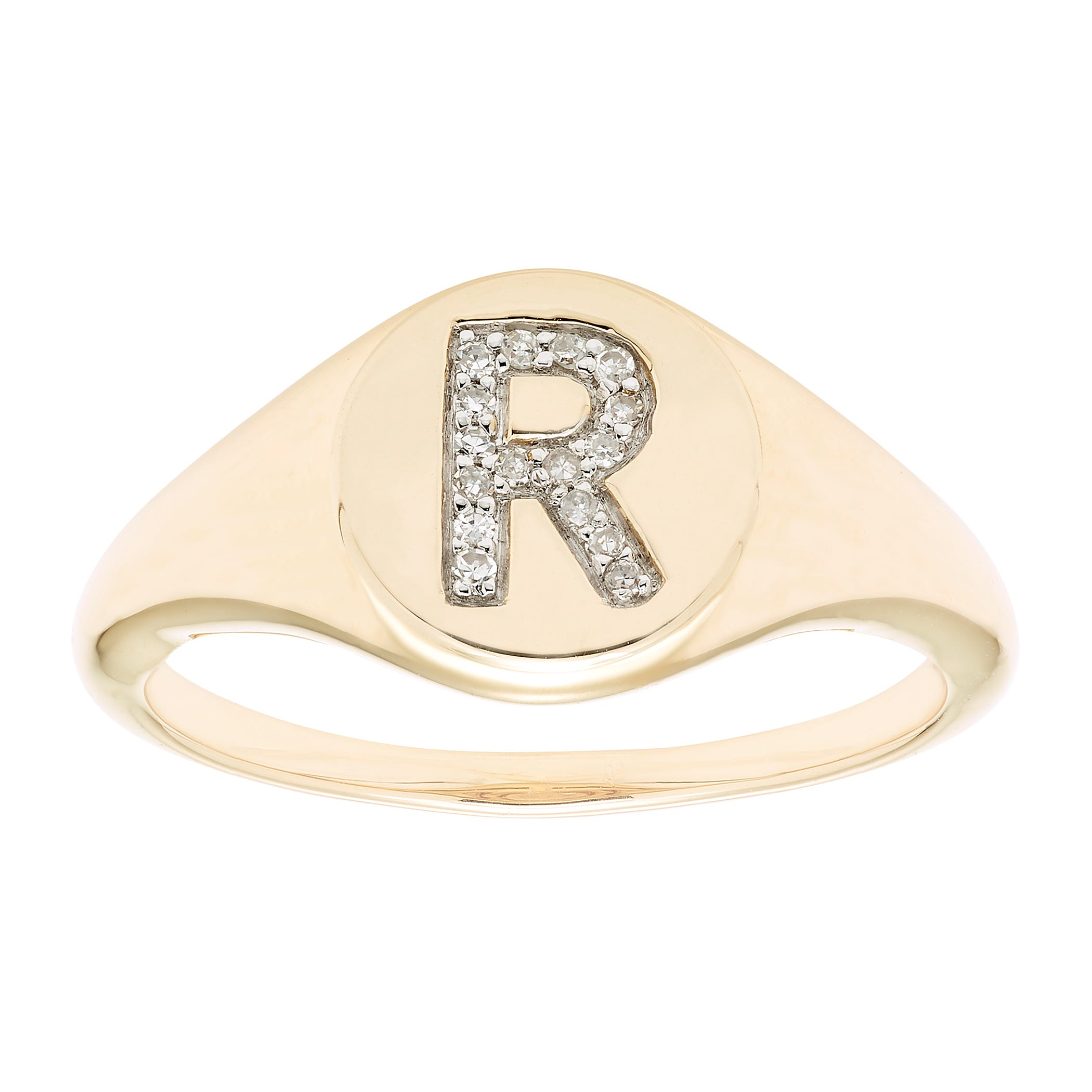 Diamond Initial R Signet Ring in 14k Yellow Gold
