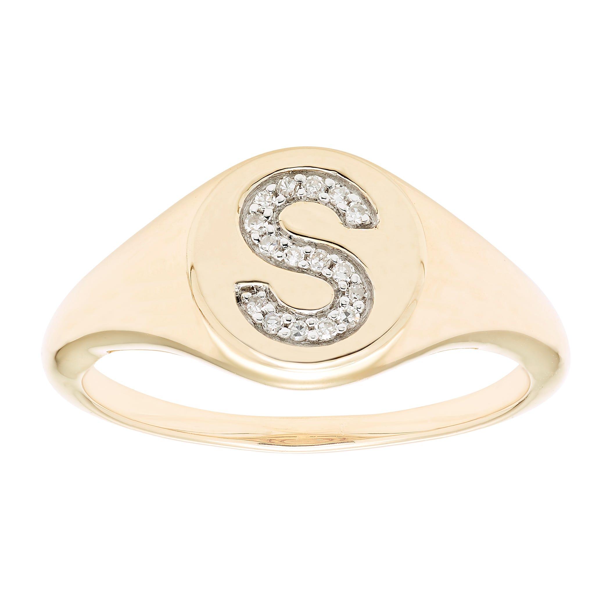 Diamond Initial S Signet Ring in 14k Yellow Gold