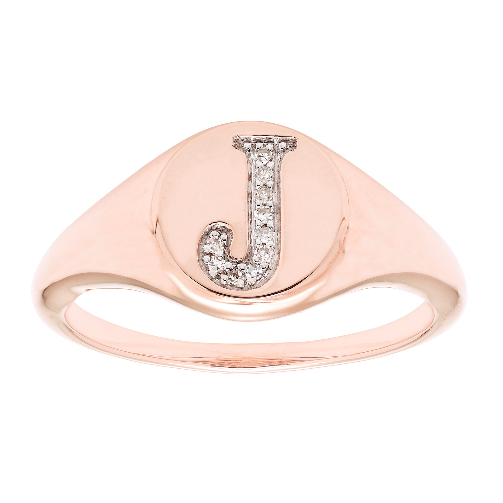 "/""J/"" SQUARE DIAMOND INITIAL 14K WHITE GOLD REGULAR SIZE"