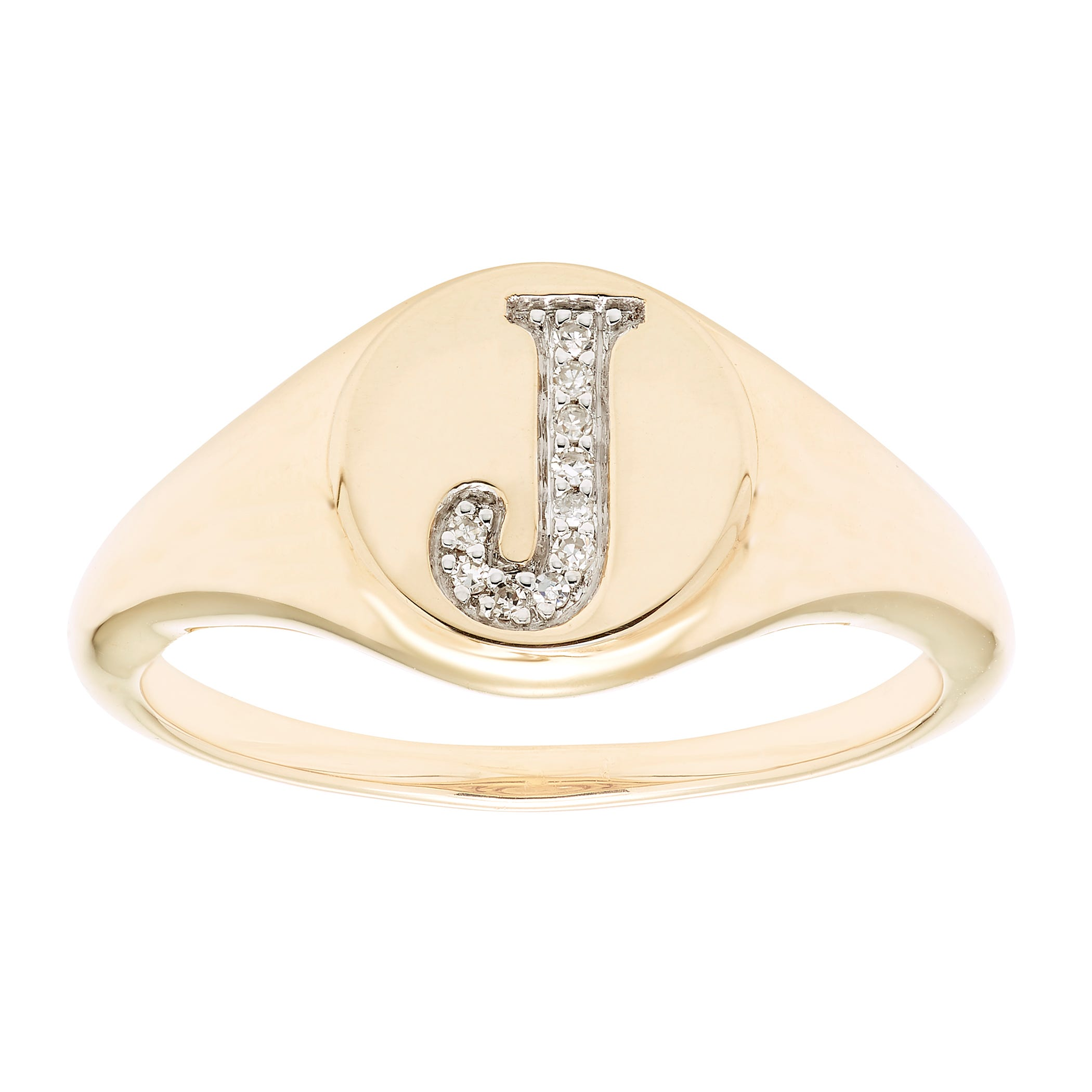 Diamond Initial J Signet Ring in 14k Yellow Gold