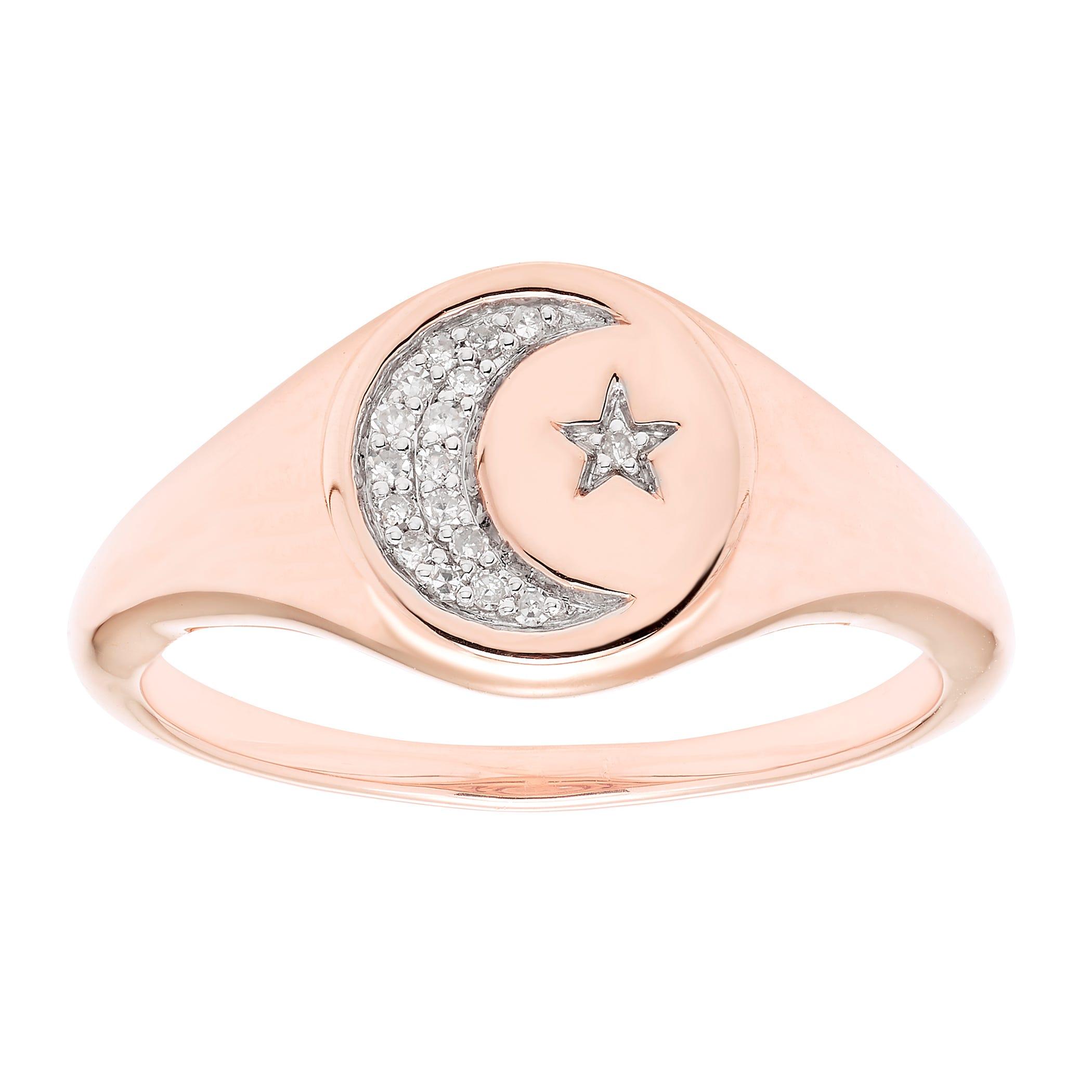 Diamond Celestial Signet Ring in 14k Rose Gold
