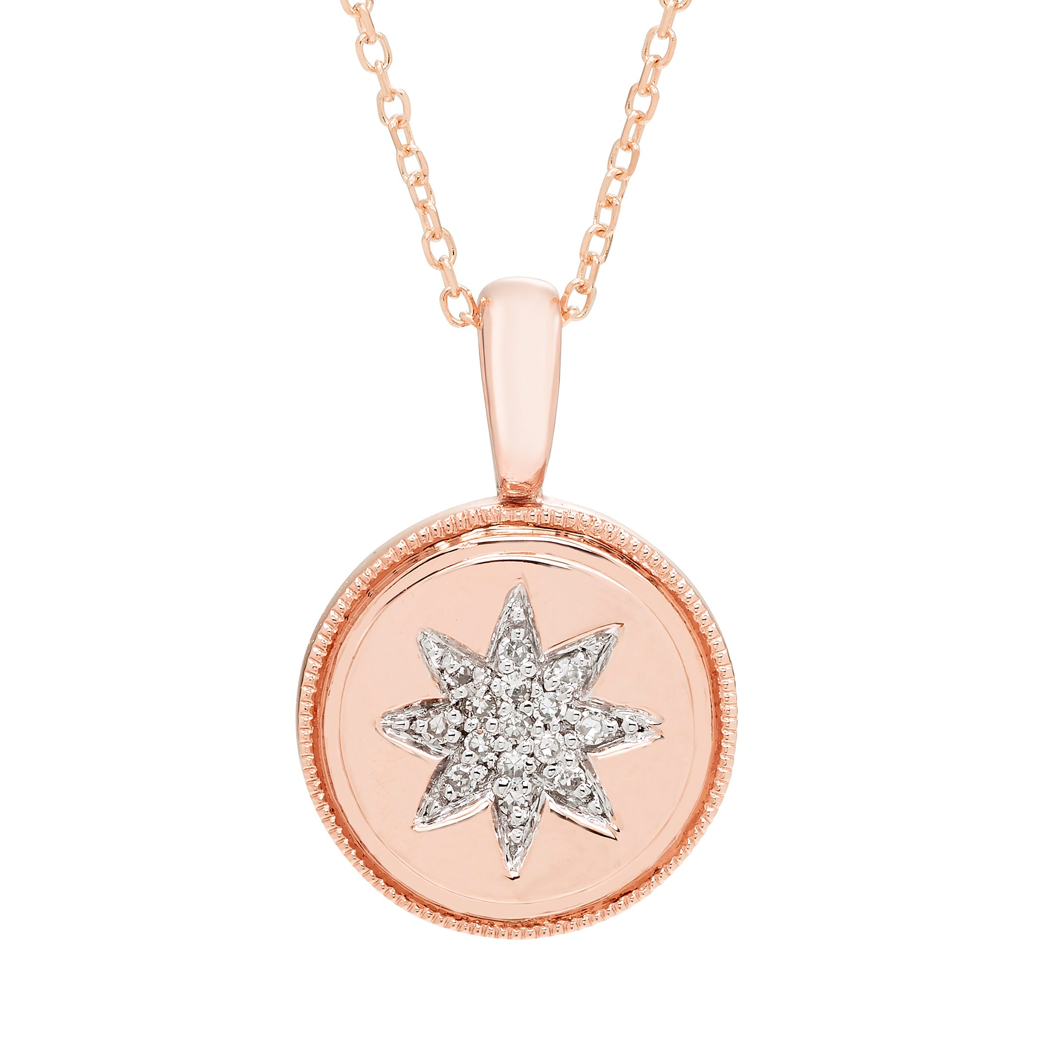 Diamond Starburst Pendant in 14k Rose Gold