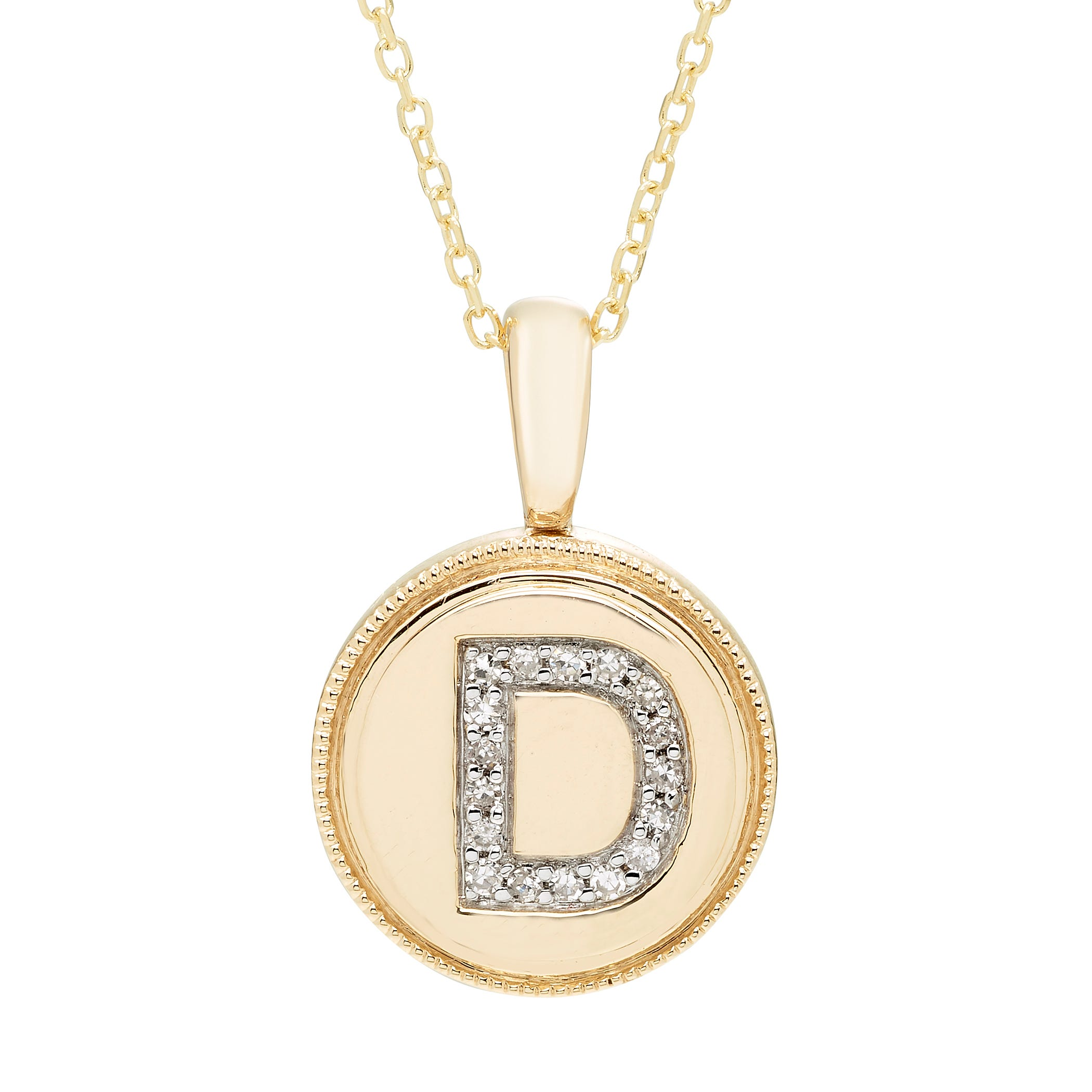 Diamond Initial D Pendant in 14k Yellow Gold