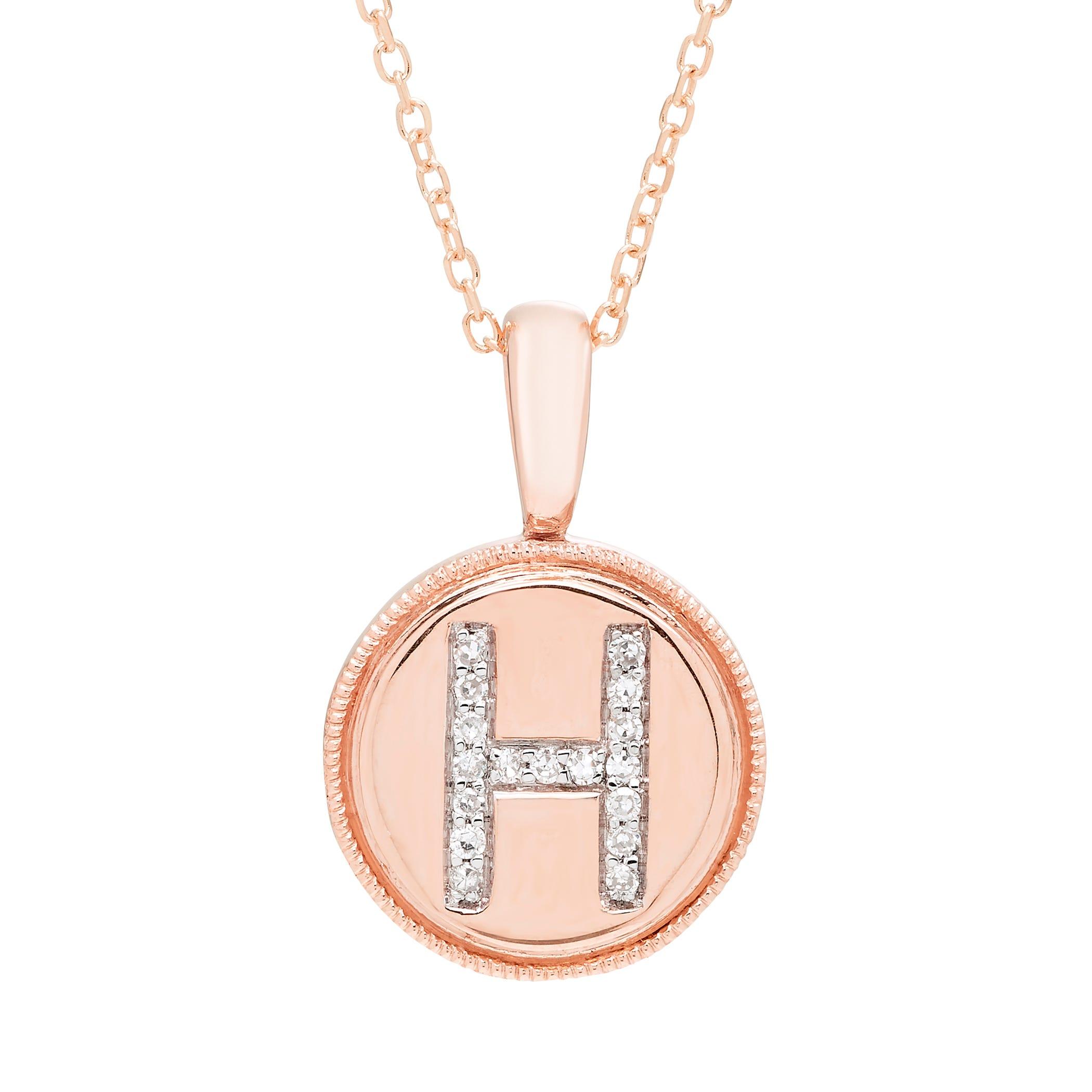 Diamond Initial H Pendant in 14k Rose Gold