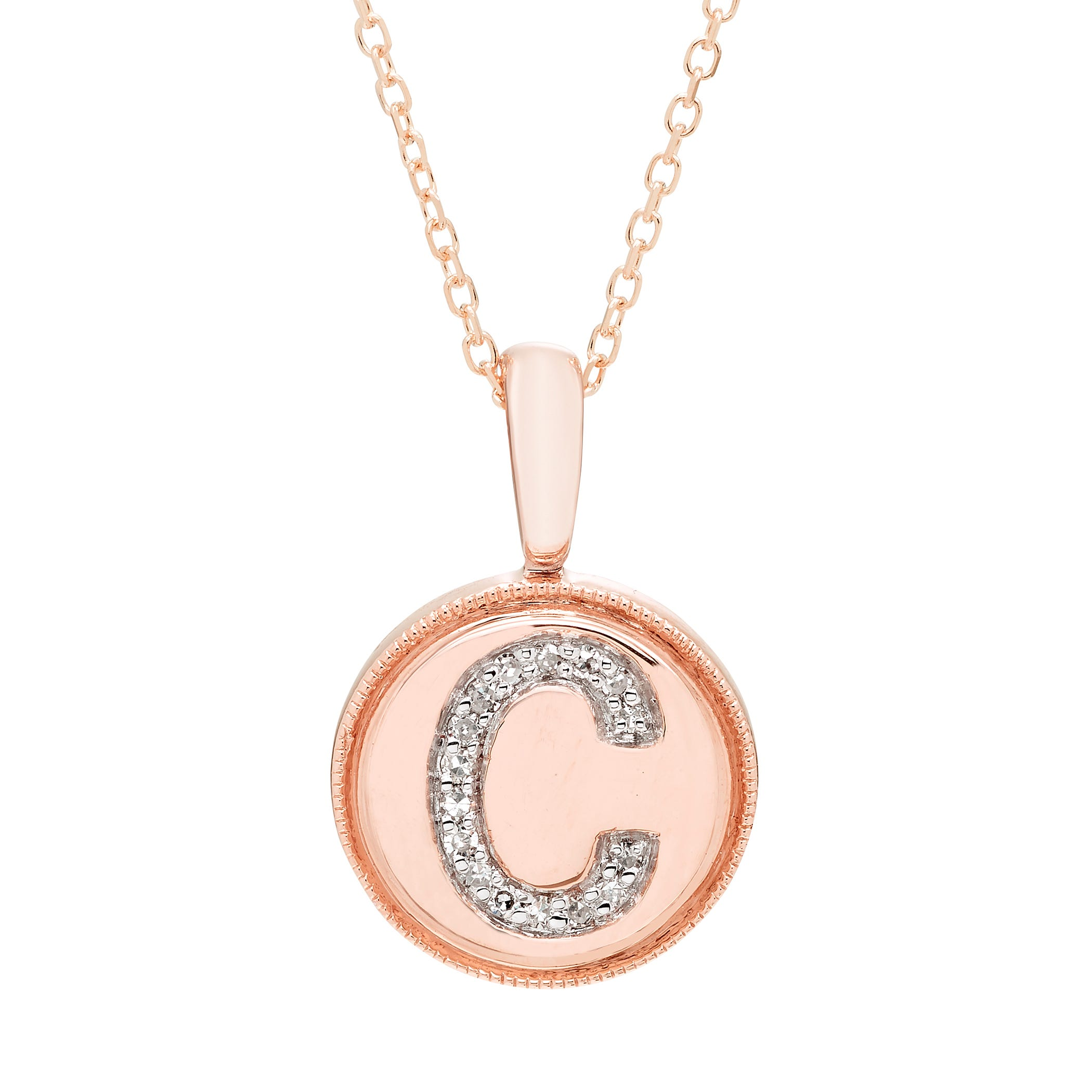 Diamond Initial C Pendant in 14k Rose Gold
