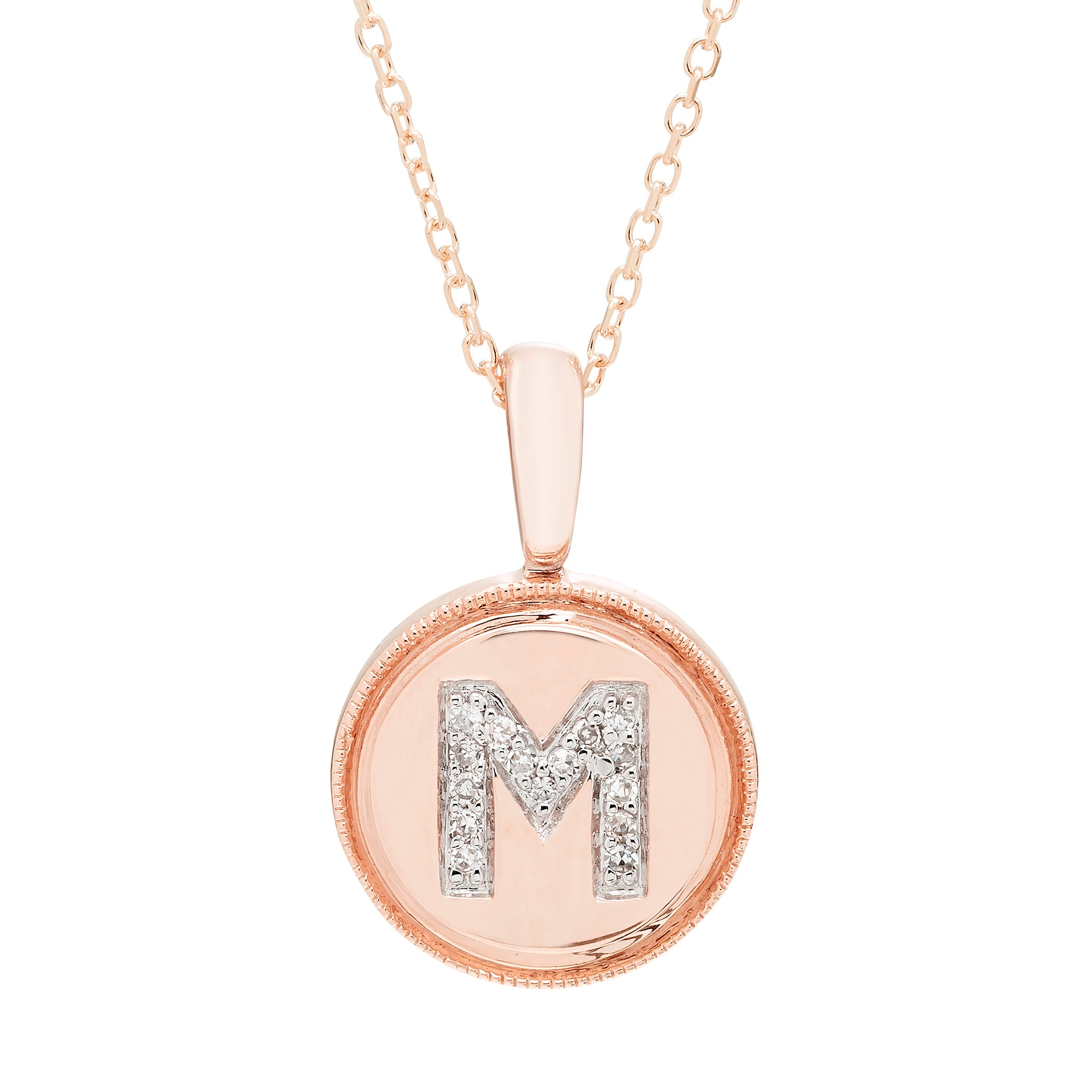 Diamond Initial M Pendant in 14k Rose Gold