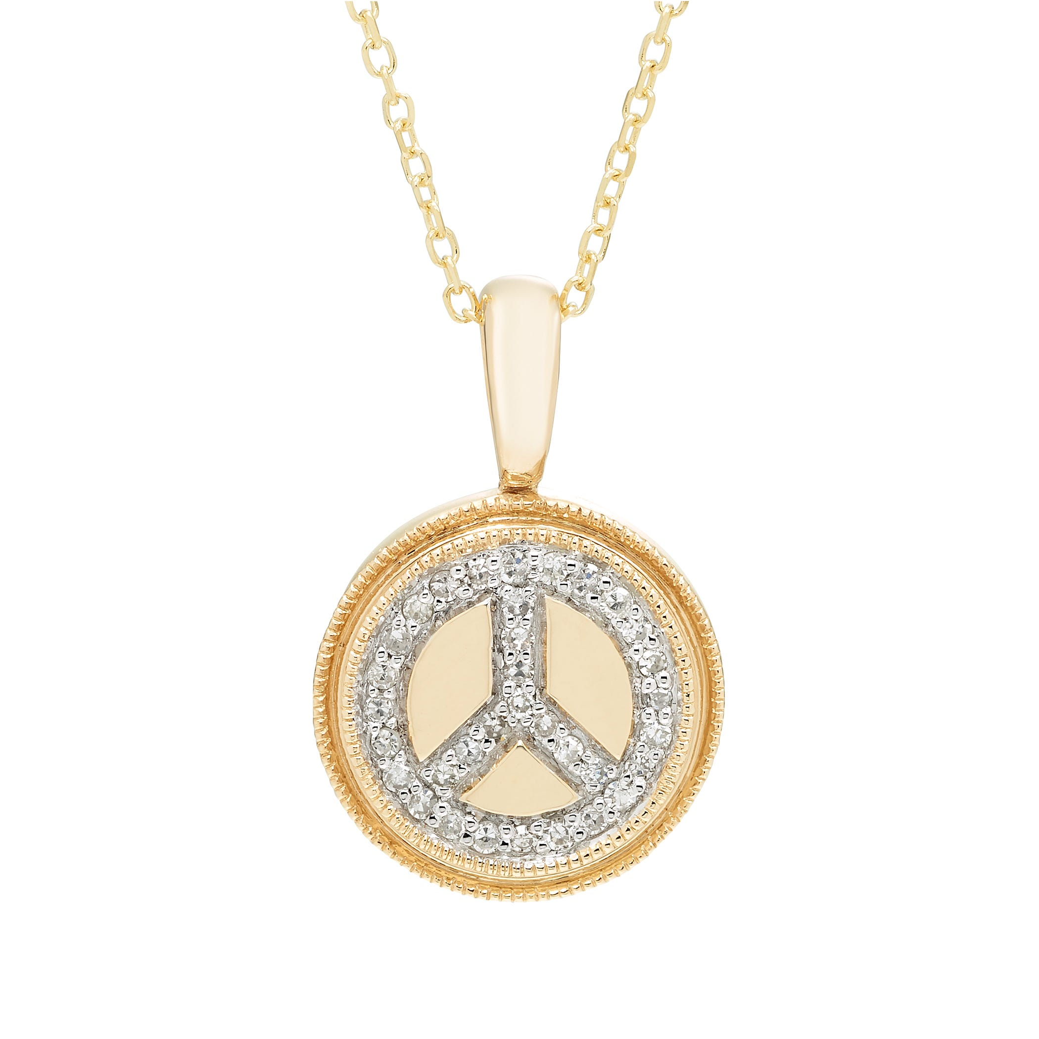 Diamond Peace Sign Pendant in 14k Yellow Gold