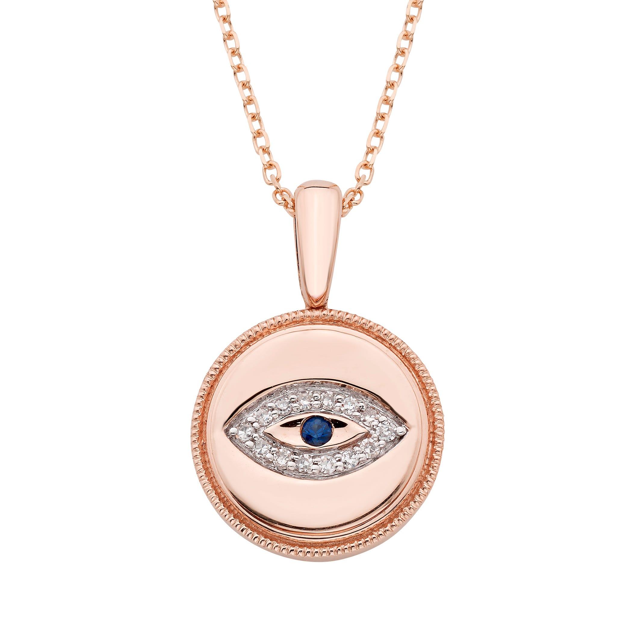 Diamond Evil Eye Pendant in 14k Rose Gold