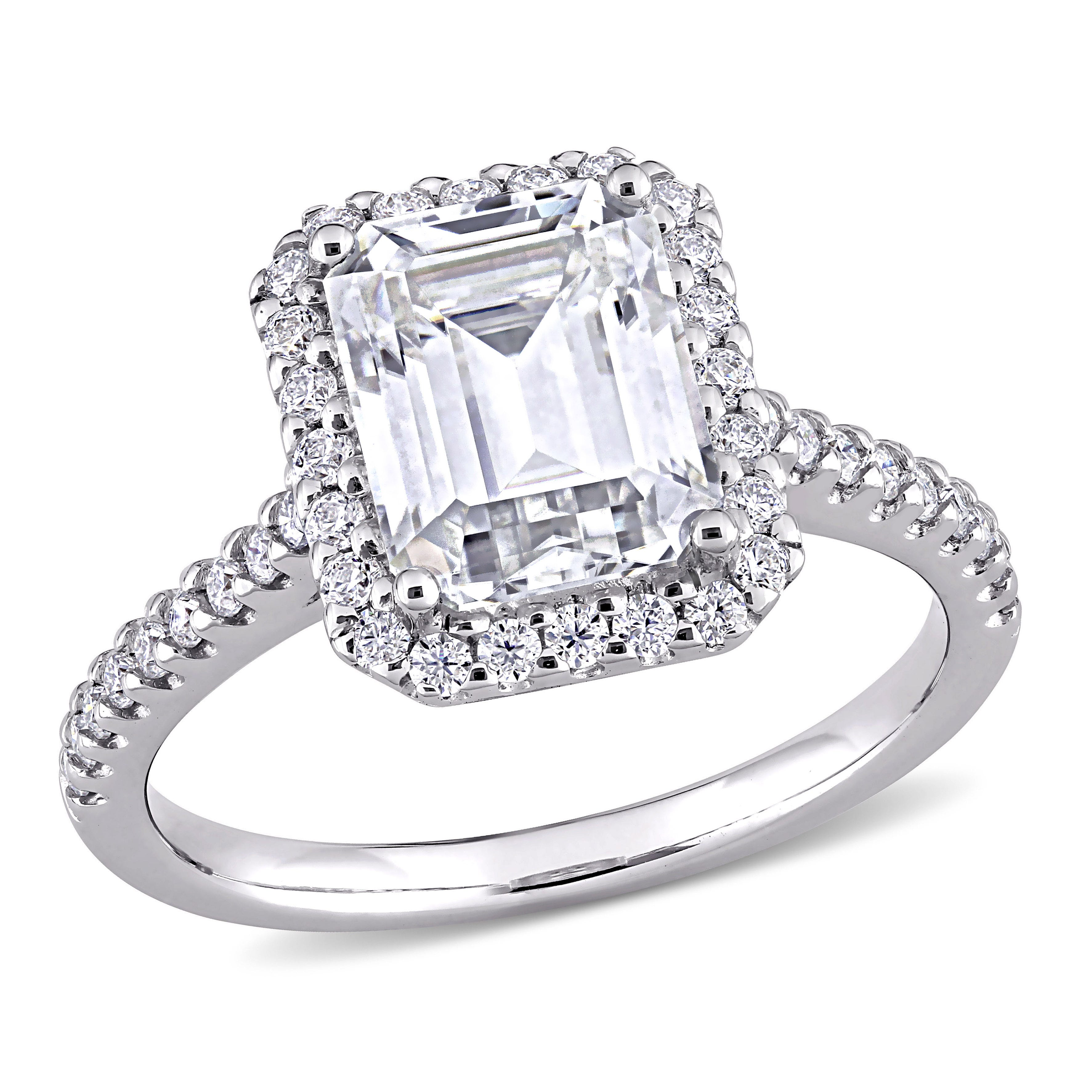 Created Moissanite Halo Engagement Ring in 10k White Gold