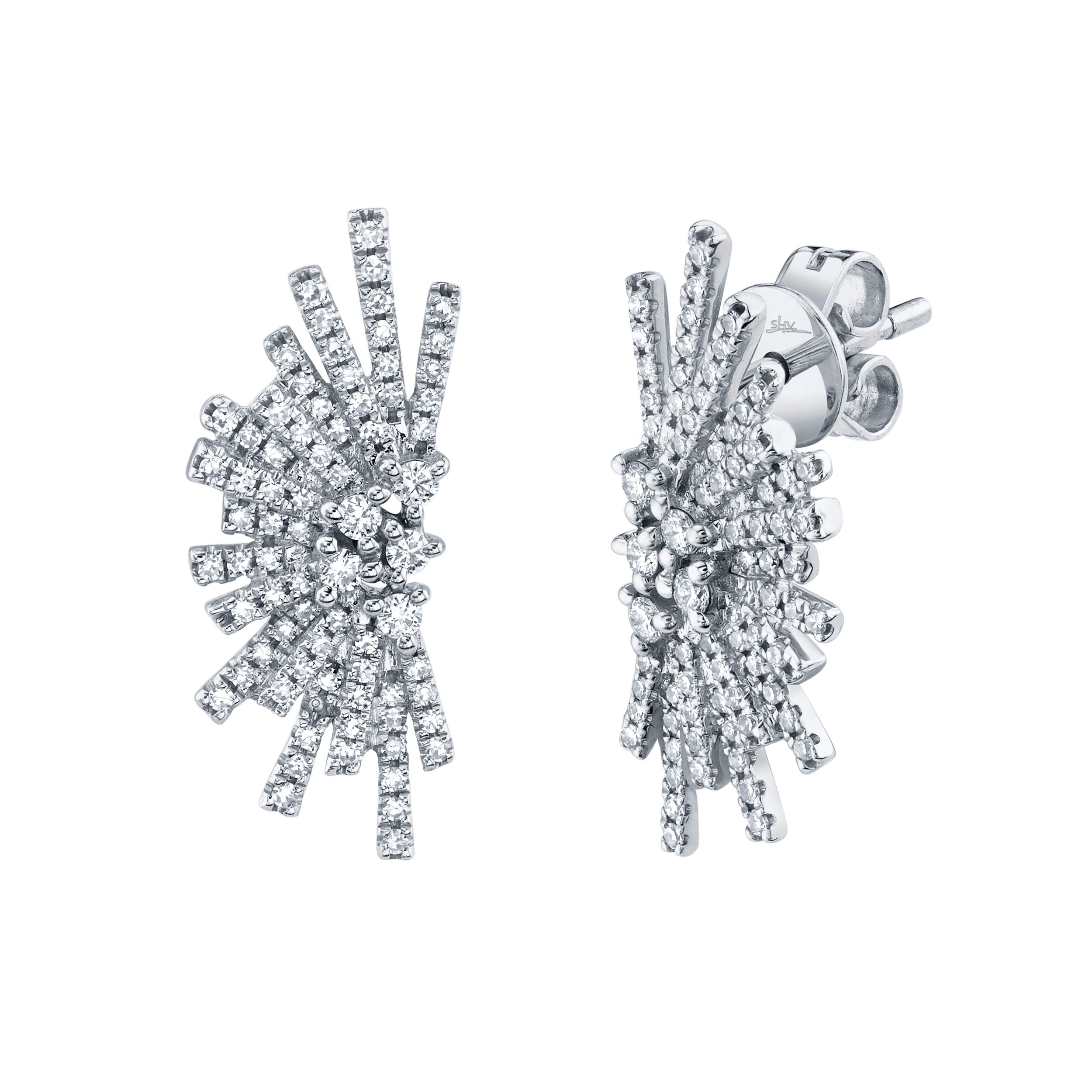 Shy Creation Diamond Half Starburst Earrings in 14k White Gold SC55006787