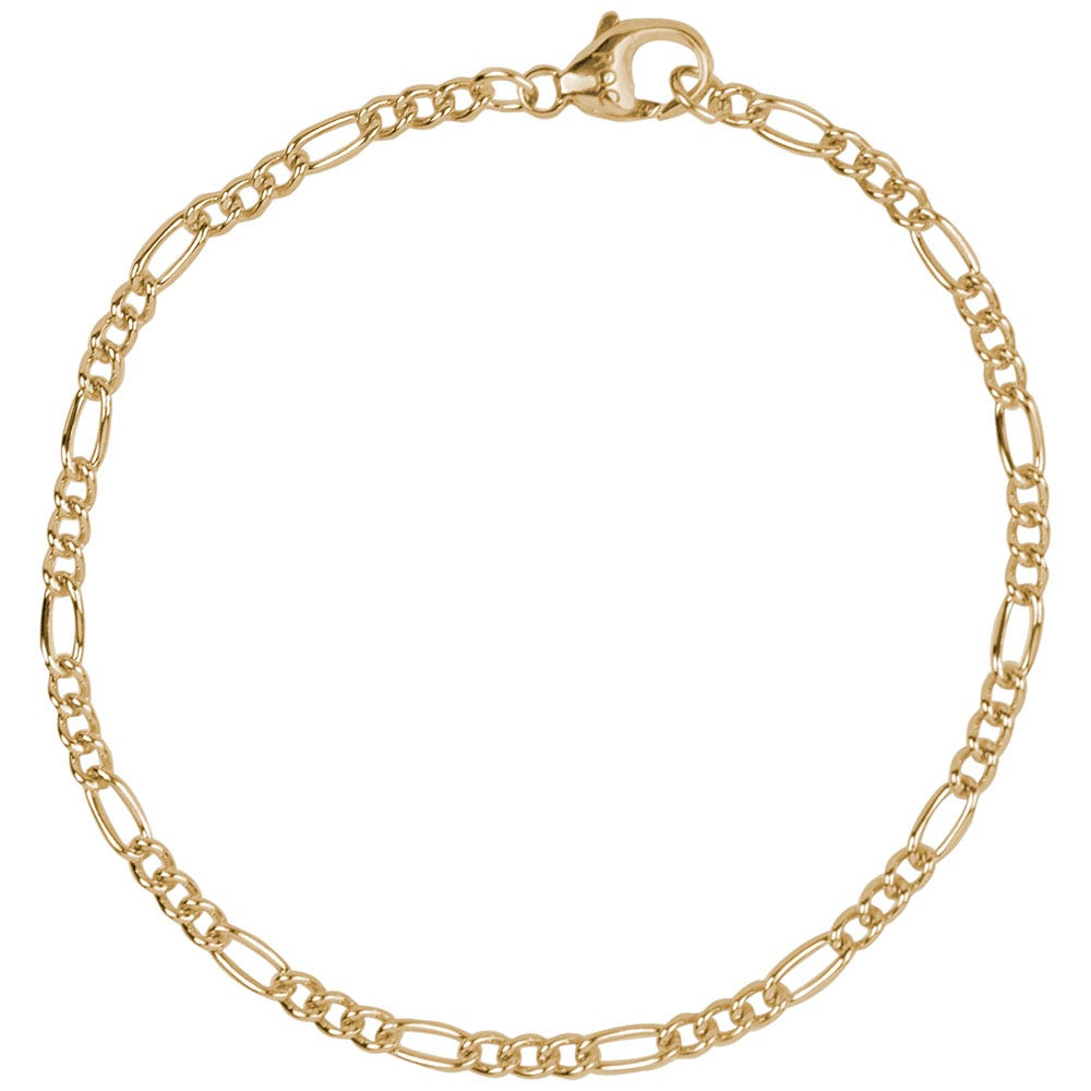Petite Curbed Figaro Classic Bracelet in 10k Yellow Gold