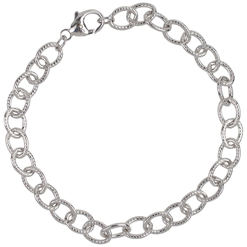 Lined Cable Link Classic Bracelet in Sterling Silver