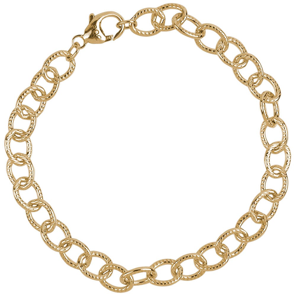 Lined Cable Link Classic Bracelet in Sterling Silver with Gold Plate