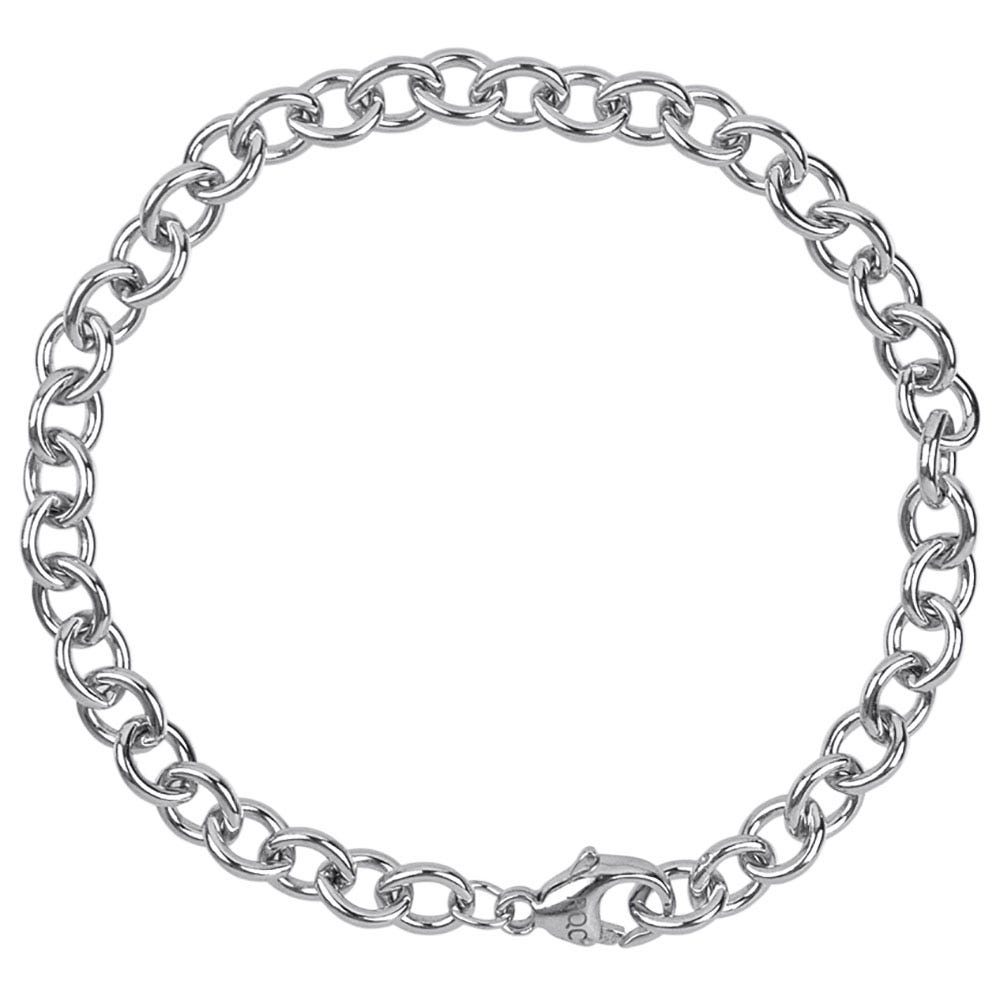 Round Cable Link Classic Bracelet in Sterling Silver