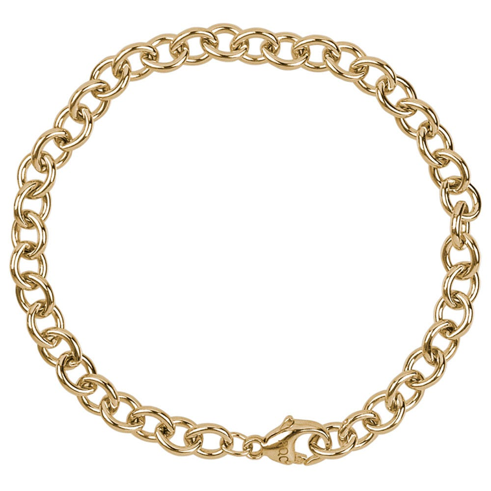 Round Cable Link Classic Bracelet in Sterling Silver with Gold Plate