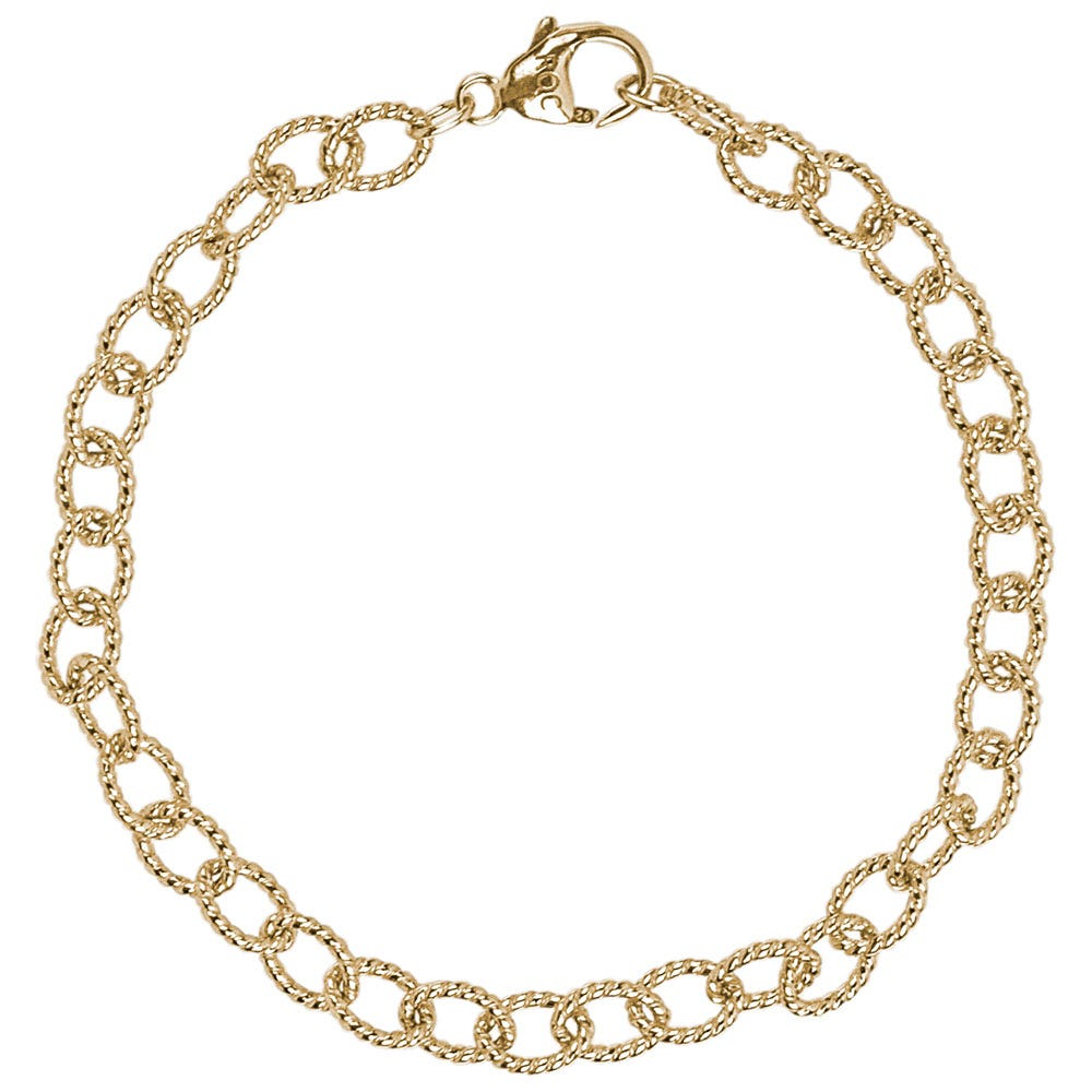 Twisted Link Classic Bracelet in Sterling Silver with Gold Plate