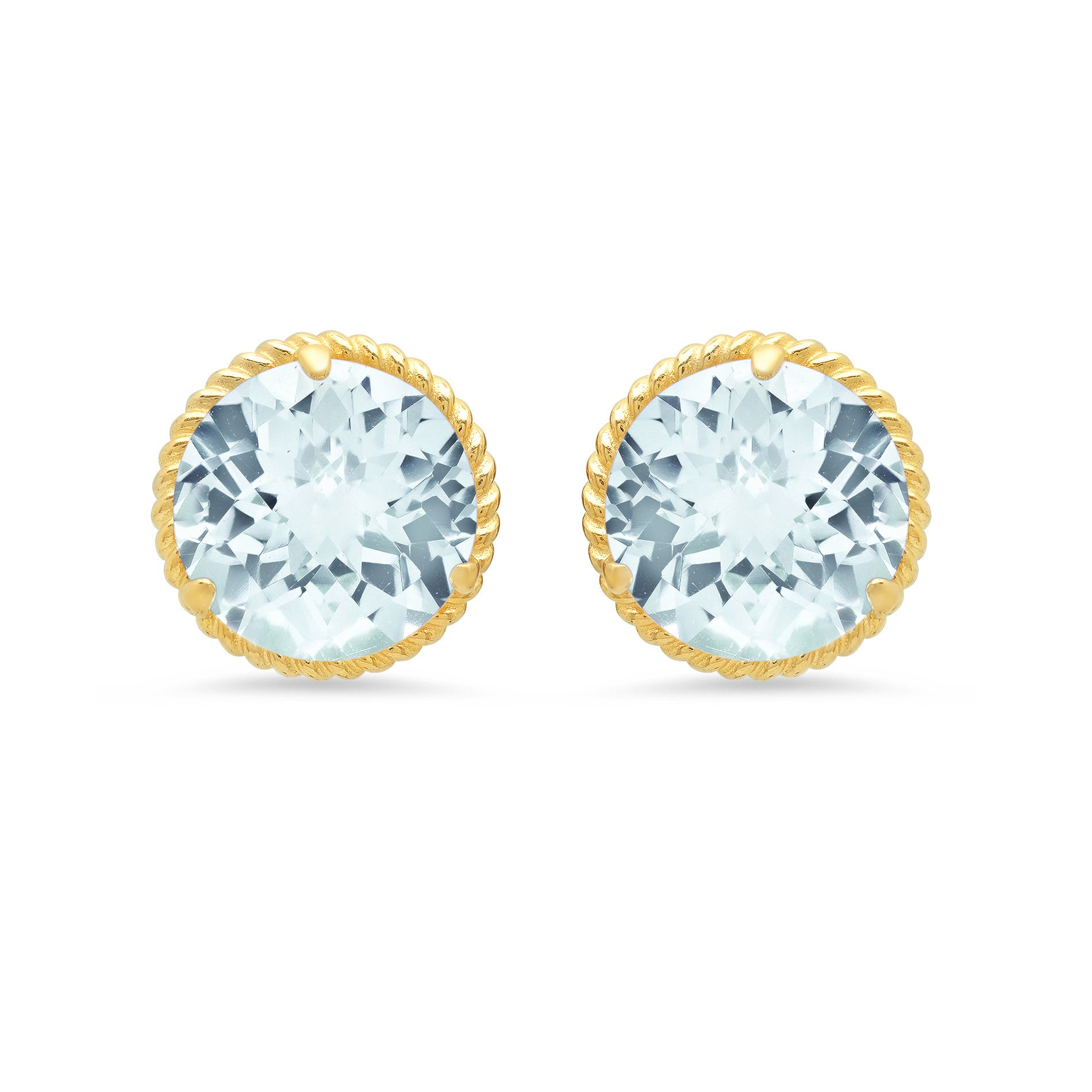 Aquamarine Roped Halo Stud Earrings in 14k Yellow Gold