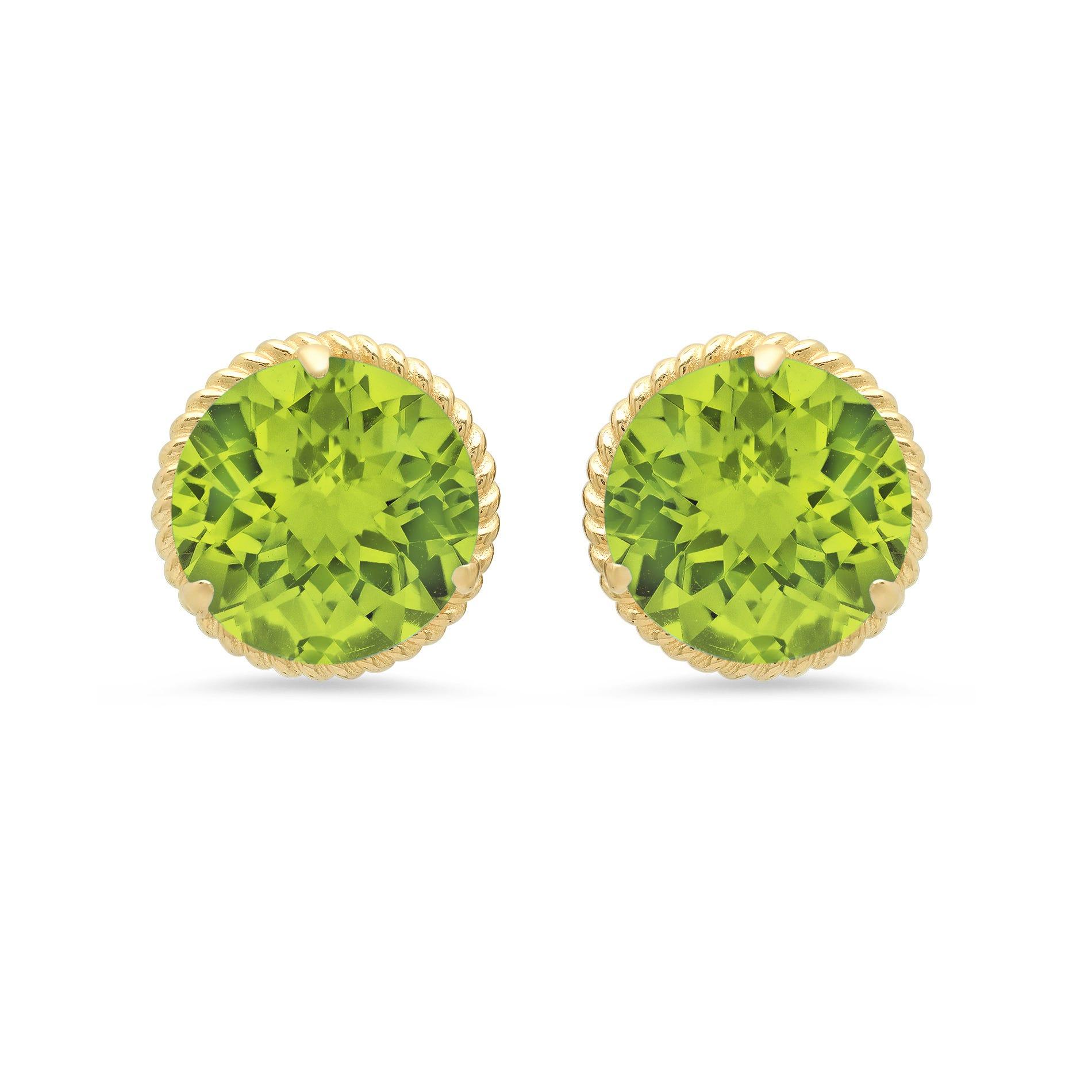 Peridot Roped Halo Stud Earrings in 14k Yellow Gold