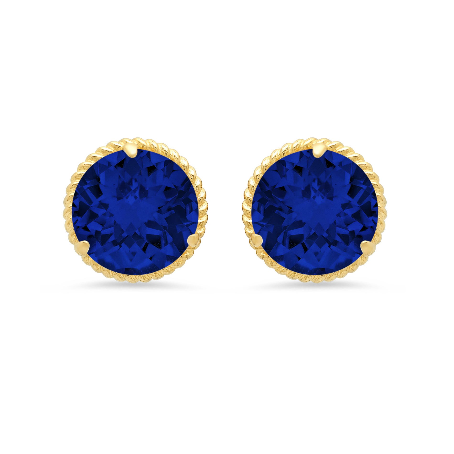 Created Blue Sapphire Roped Halo Stud Earrings in 14k Yellow Gold