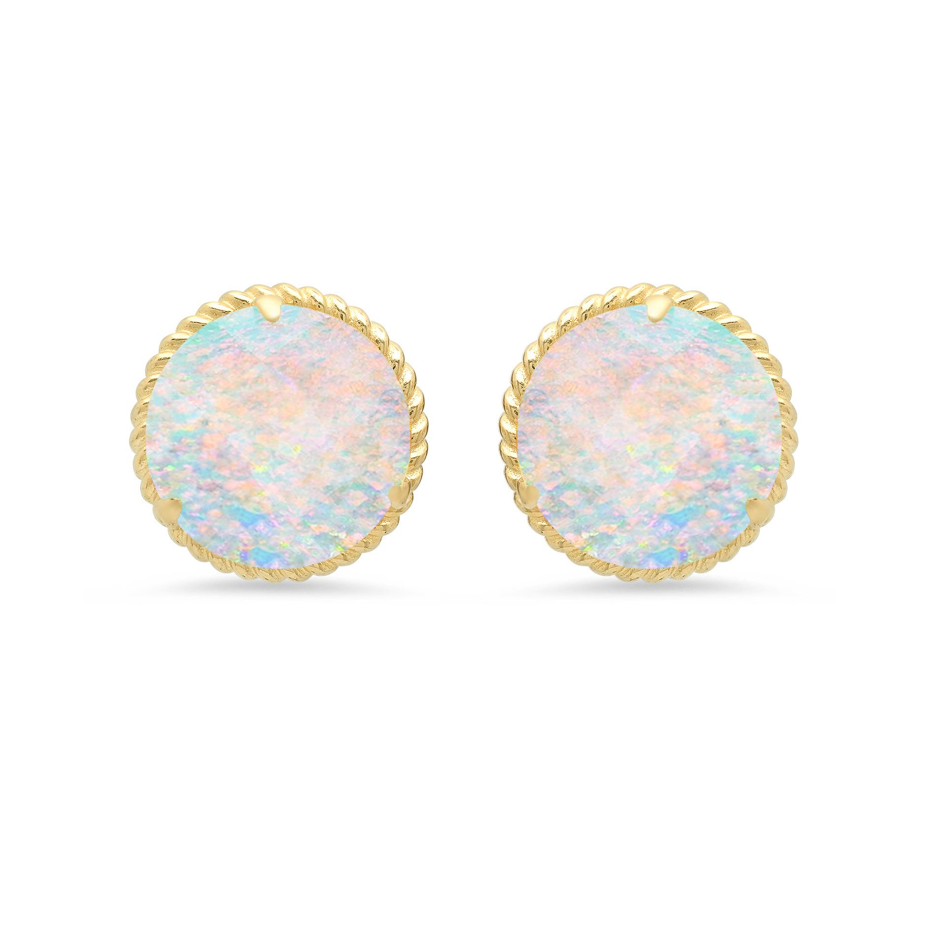 Created Opal Roped Halo Stud Earrings in 14k Yellow Gold
