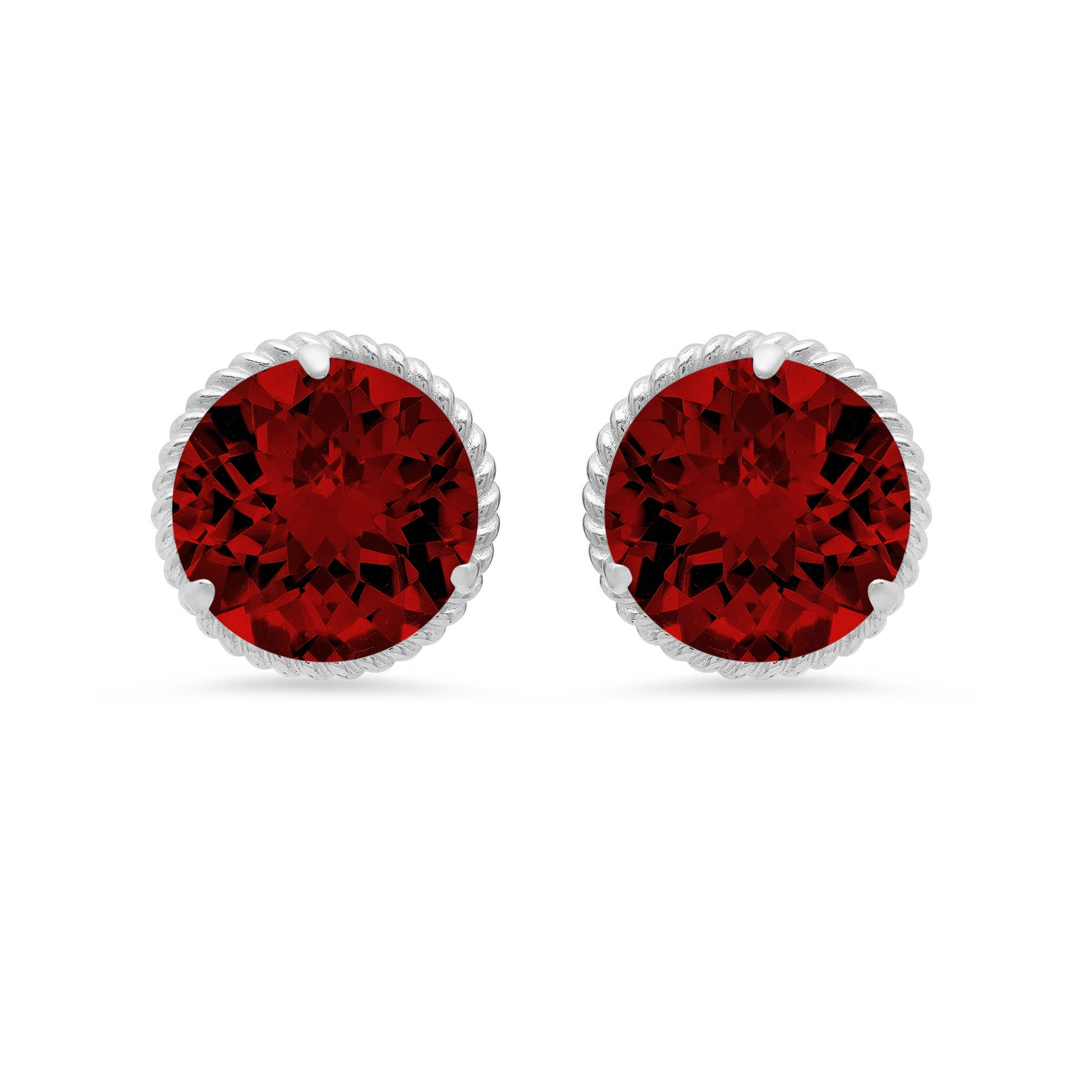 Garnet Roped Halo Stud Earrings in 14k White Gold
