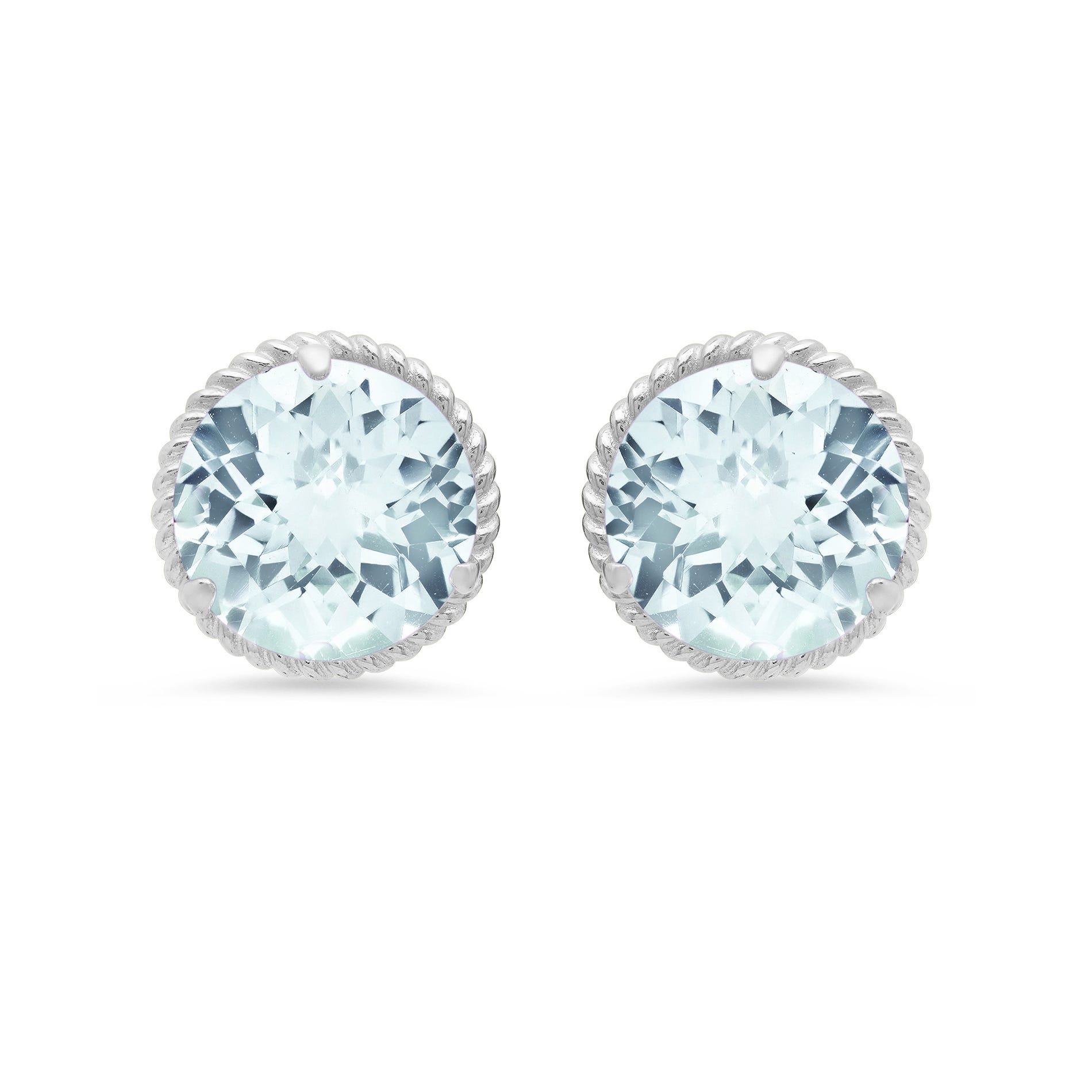 Aquamarine Roped Halo Stud Earrings in 14k White Gold