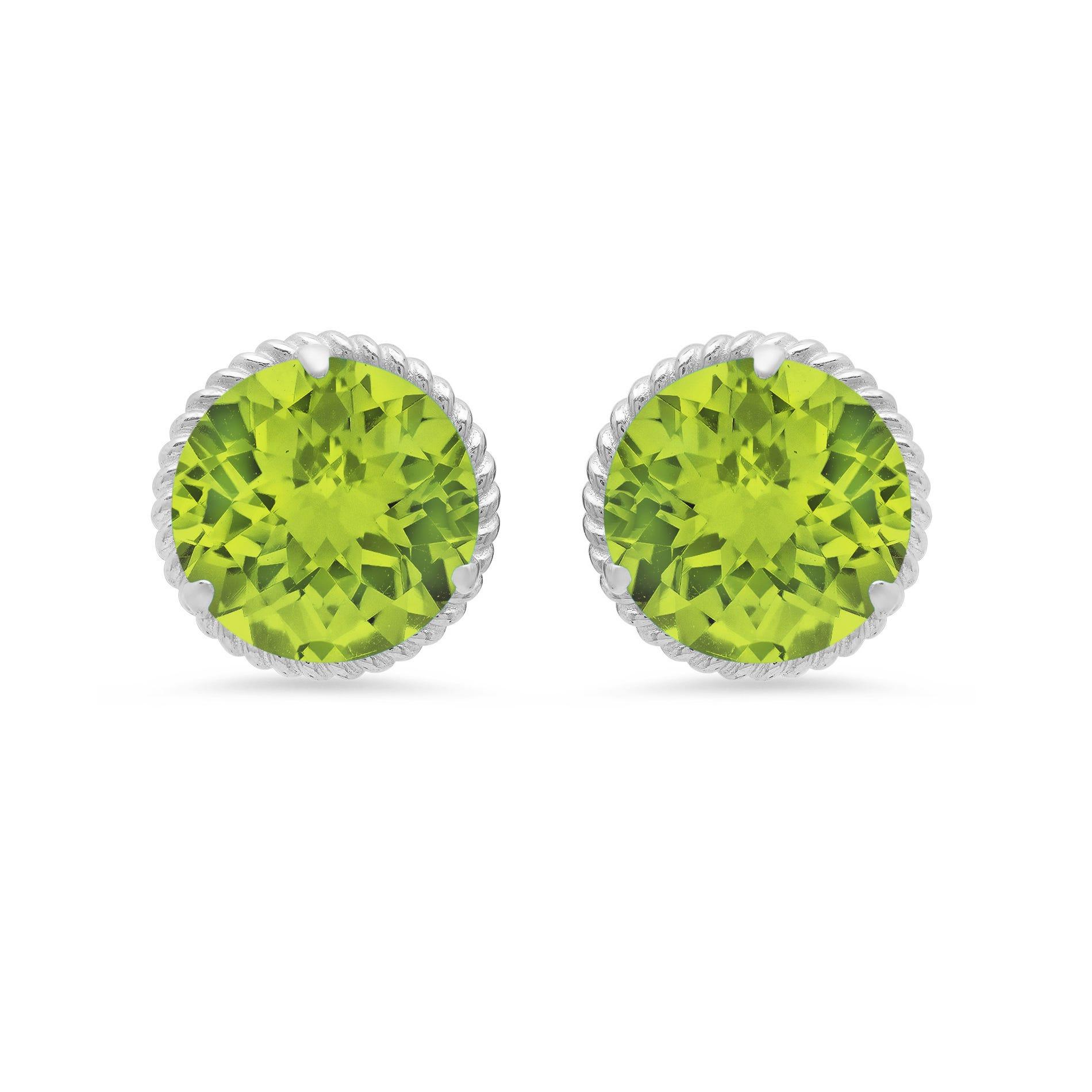 Peridot Roped Halo Stud Earrings in 14k White Gold
