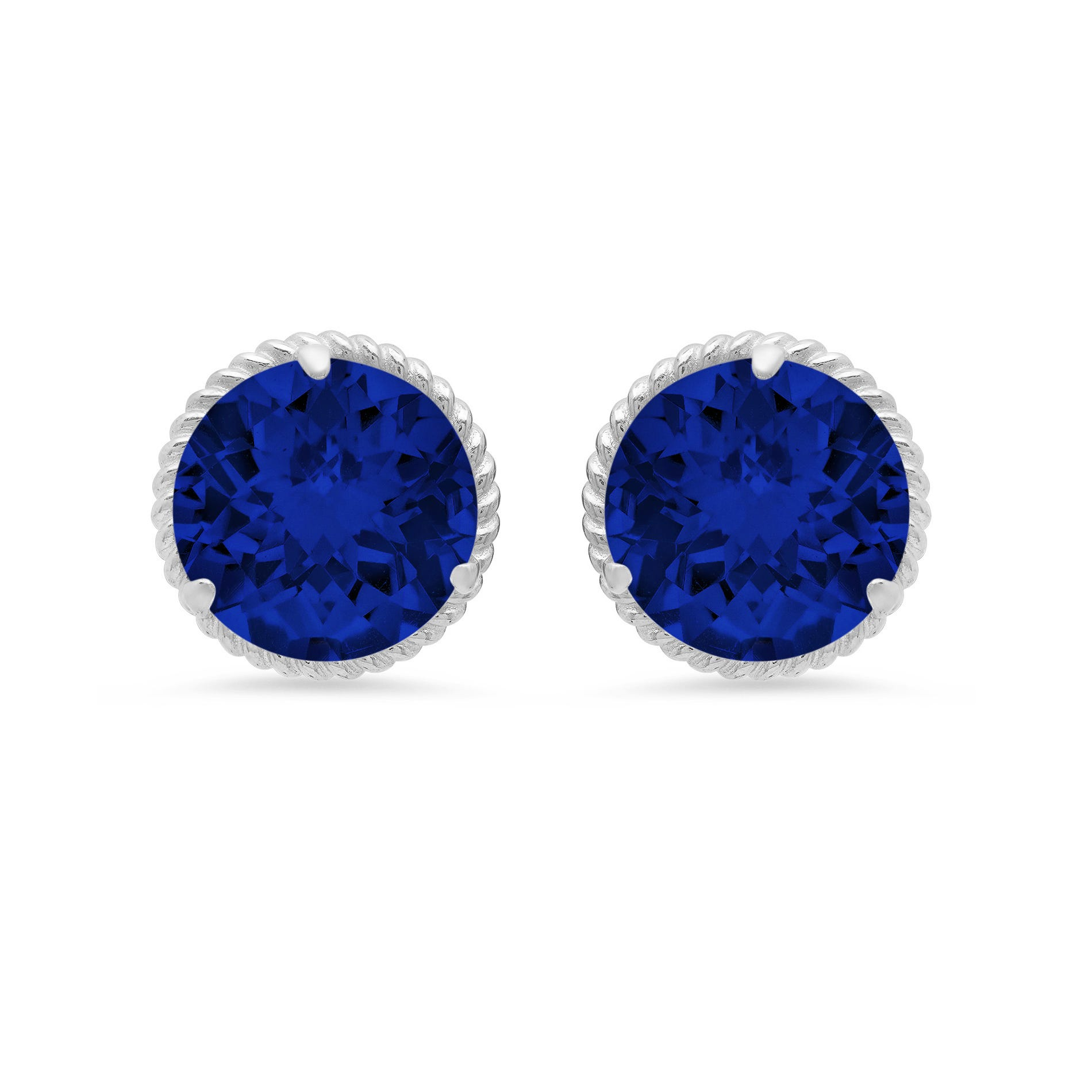 Created Blue Sapphire Roped Halo Stud Earrings in 14k White Gold