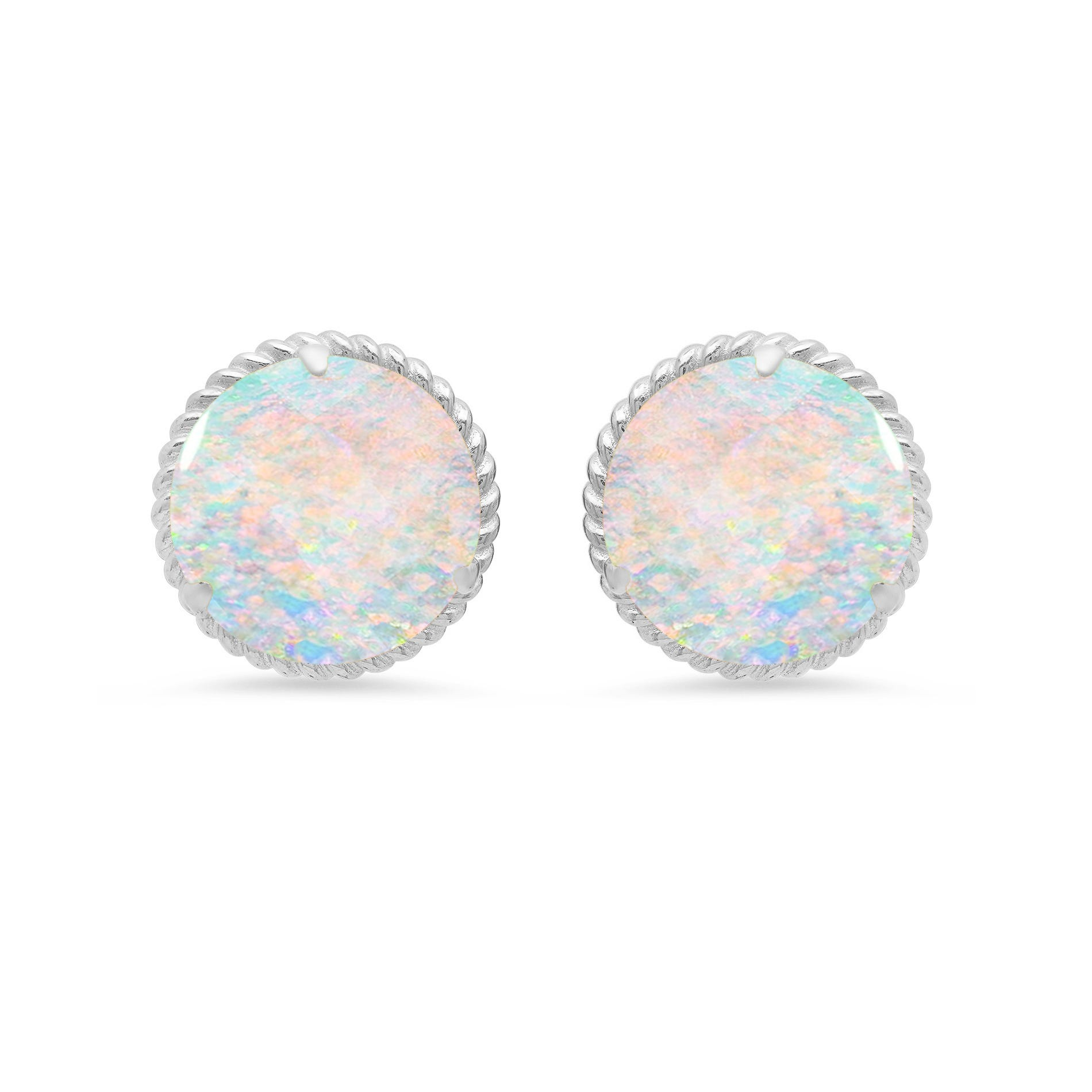 Created Opal Roped Halo Stud Earrings in 14k White Gold