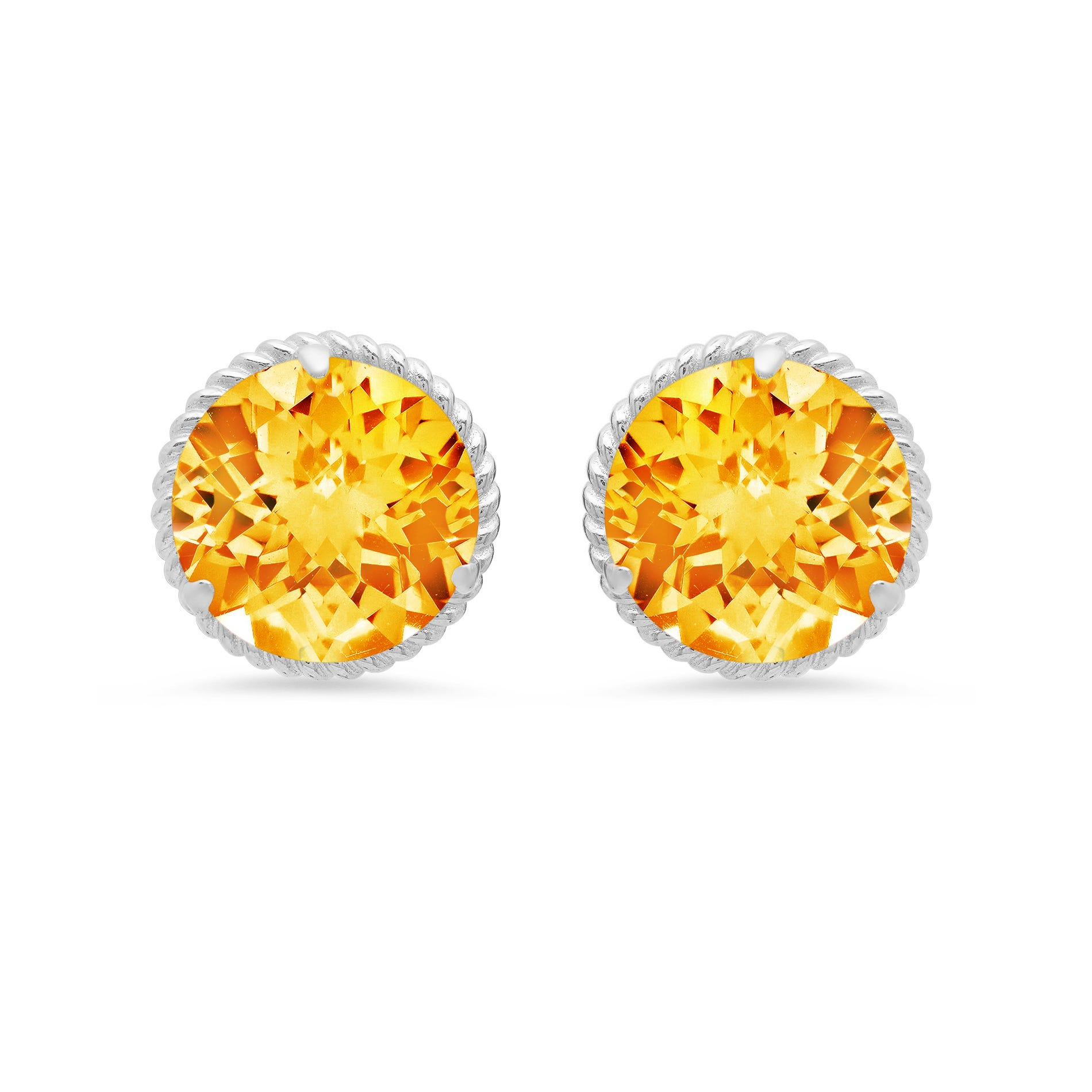 Citrine Roped Halo Stud Earrings in 14k White Gold