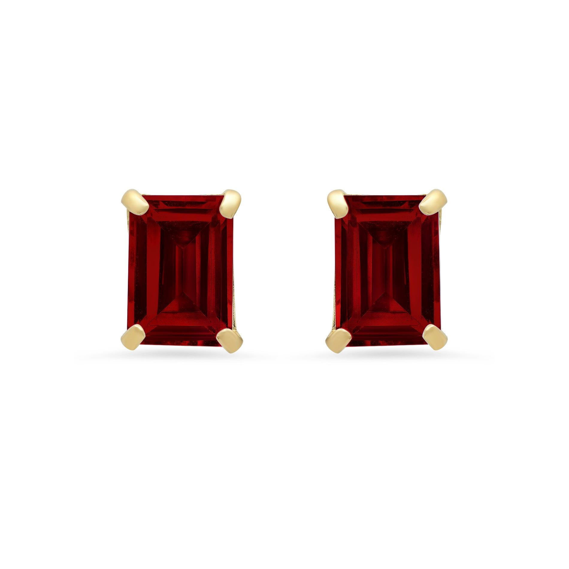 Emerald-Cut Garnet Solitaire Stud Earrings in 14k Yellow Gold