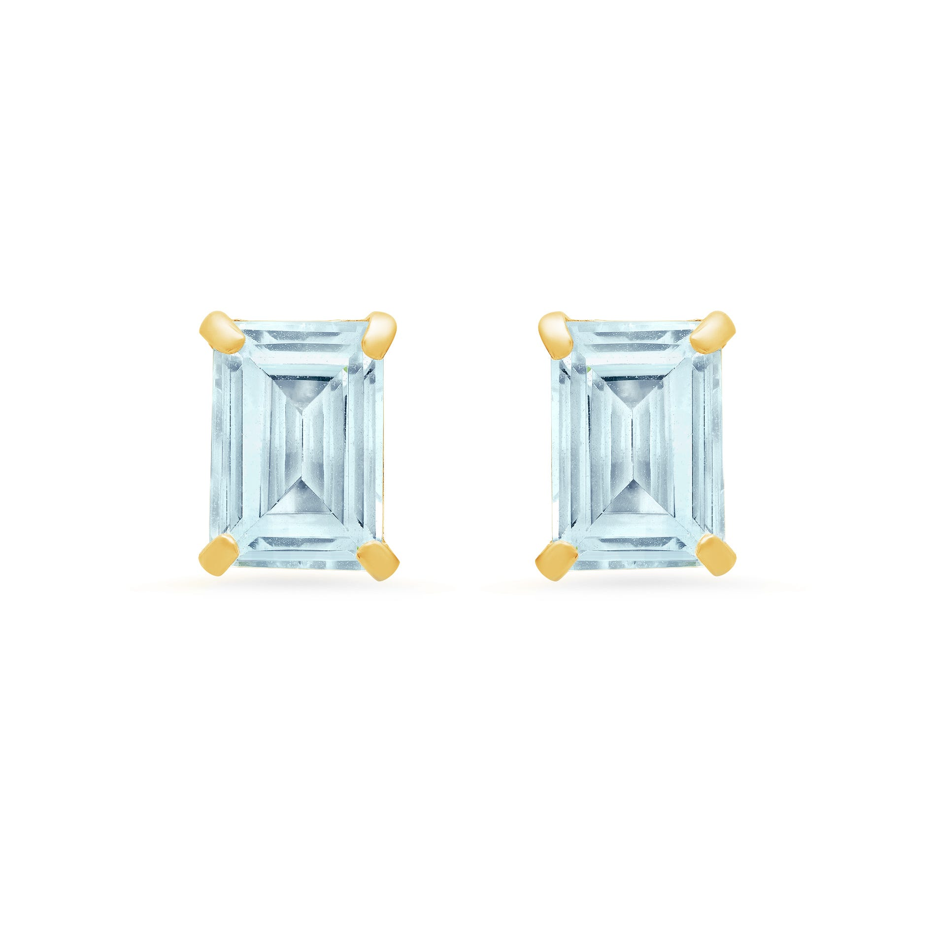Emerald-Cut Aquamarine Solitaire Stud Earrings in 14k Yellow Gold