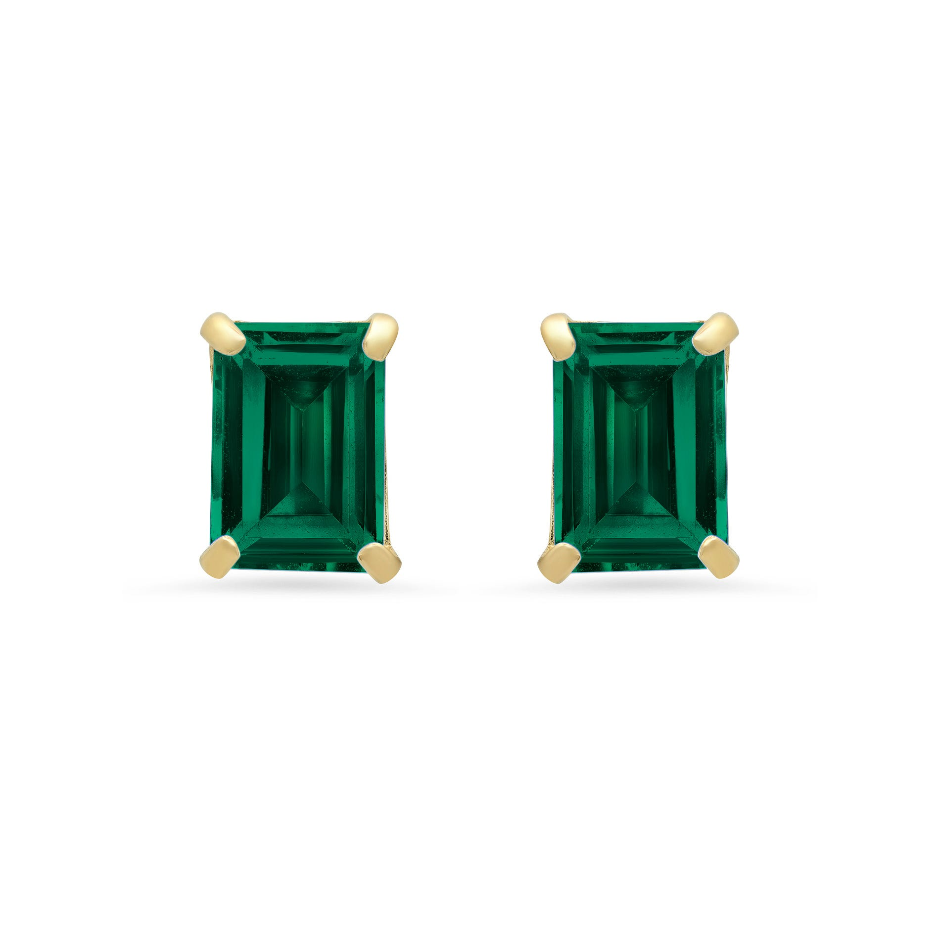 Emerald-Cut Created Emerald Solitaire Stud Earrings in 14k Yellow Gold
