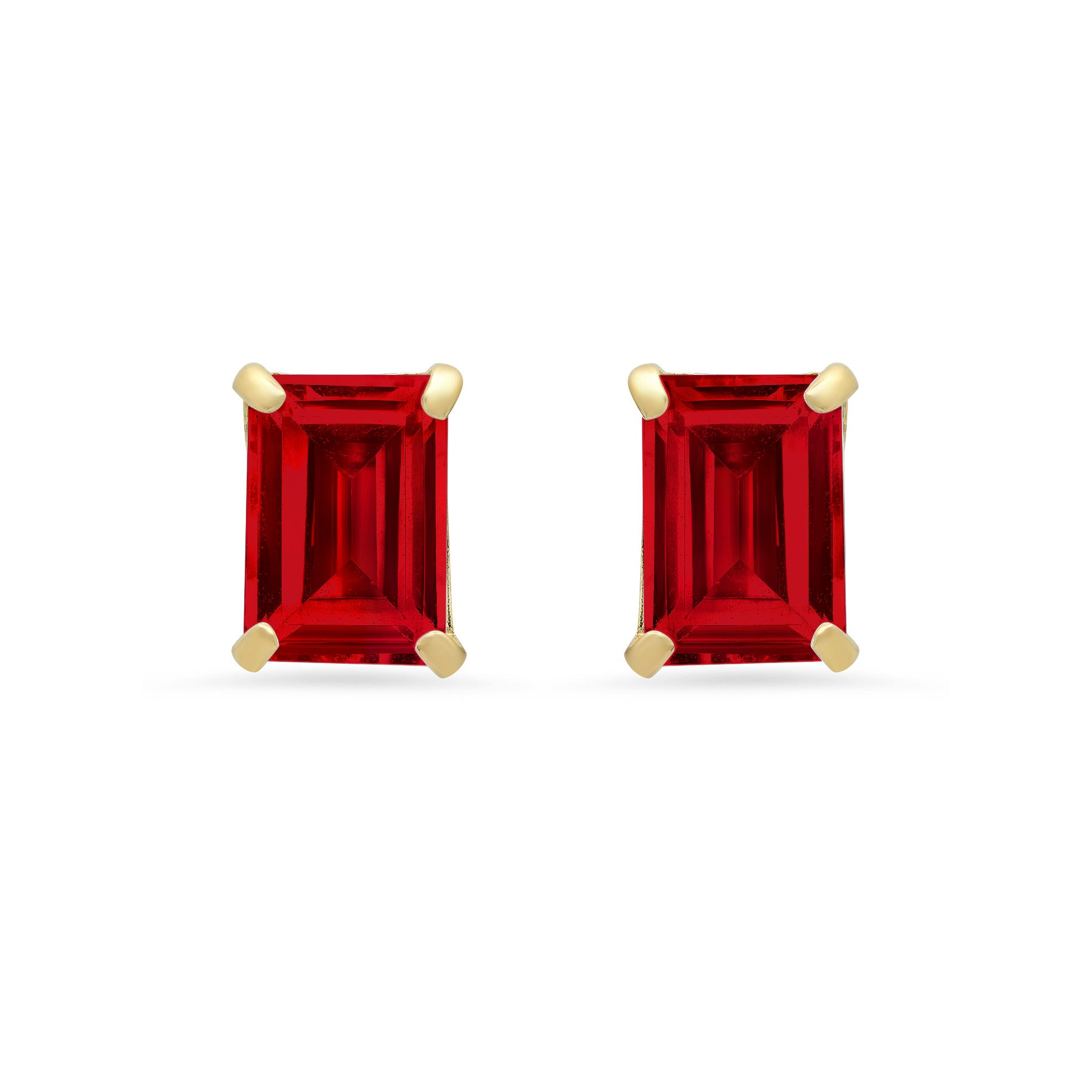 Emerald-Cut Created Ruby Solitaire Stud Earrings in 14k Yellow Gold